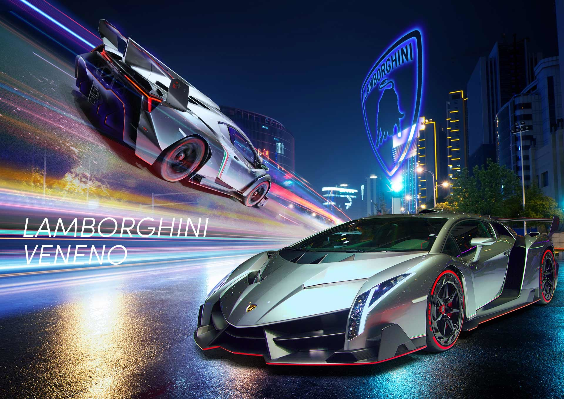 Lamborghini Veneno Wallpaper City Street, Night