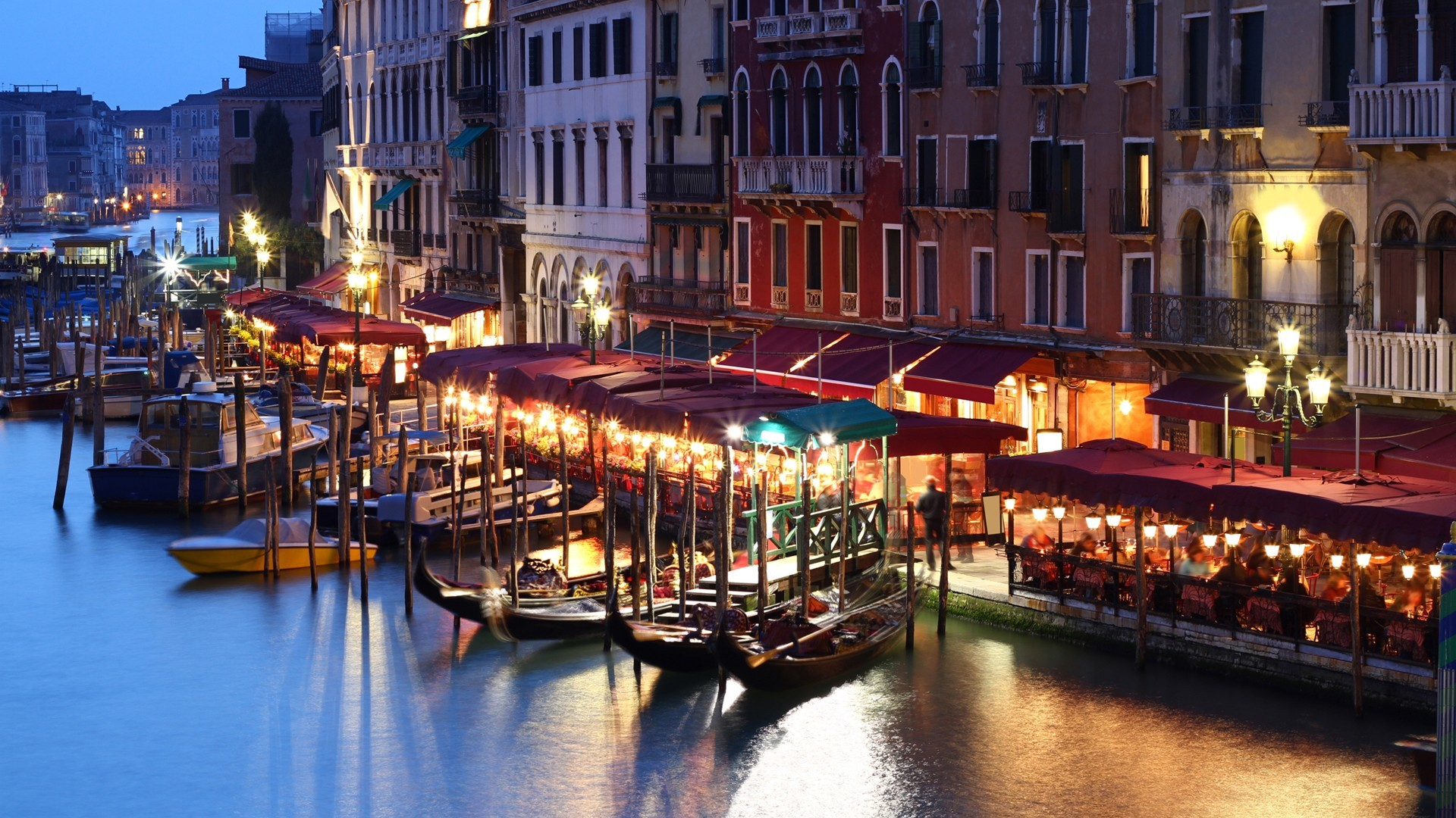 Download Wallpaper light water streets night venice grand italy canal cities  night city -2440-