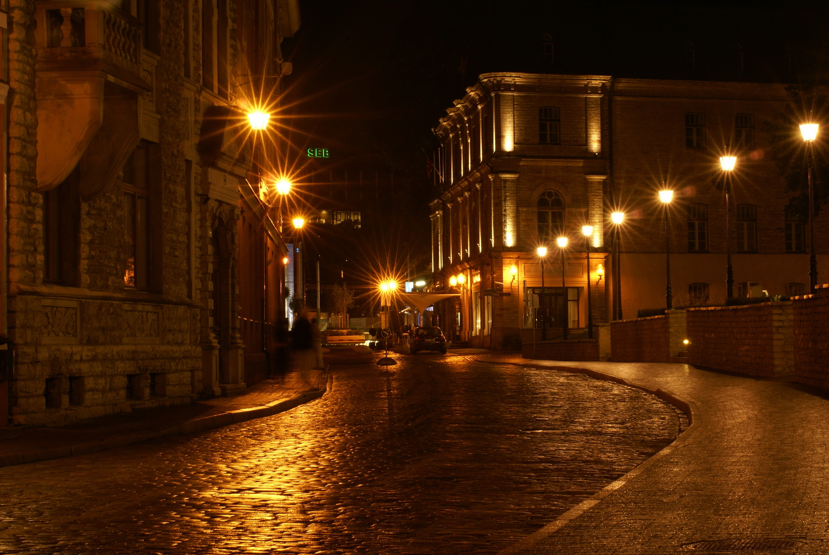 Baltics Roads Street lights HDR Rays of light Night Cities Wallpapers and  photos