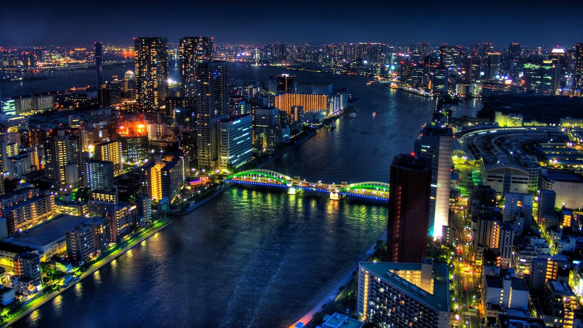 Preview wallpaper tokyo, bridge, night, buildings, skyscrapers 1920×1080