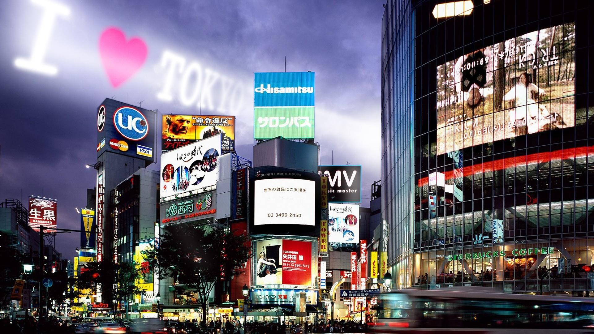 Preview wallpaper tokyo, buildings, night, advertising 1920×1080
