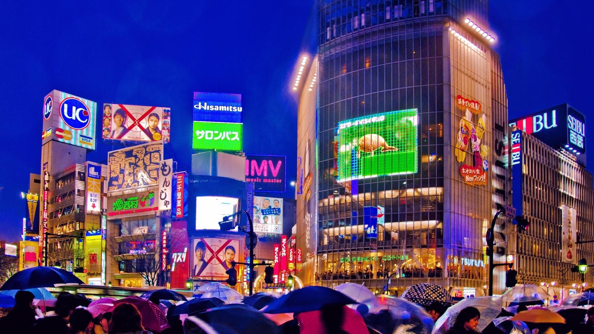 Rain On A Busy Street In Tokyo Hd Desktop Background HD wallpapers