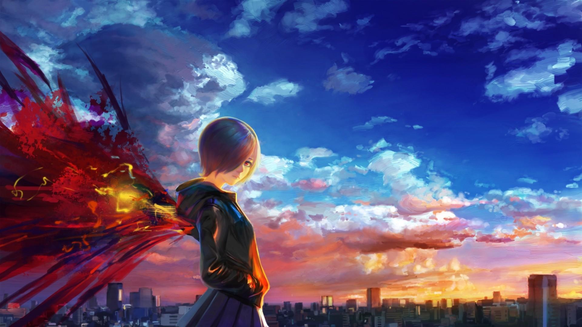 Preview wallpaper tokyo ghoul, kirishima touka, city, sky, wings 1920×1080
