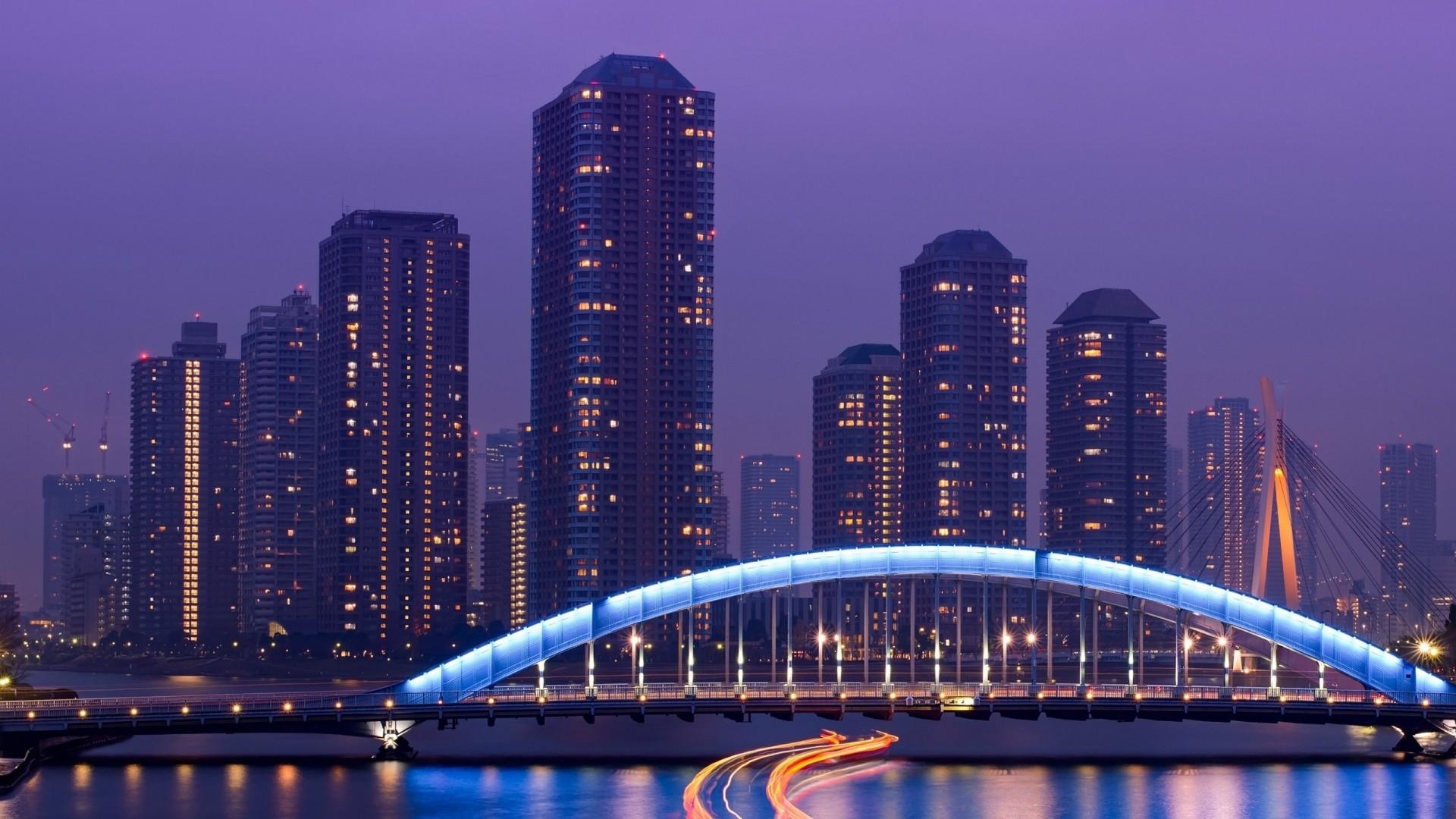 Preview wallpaper tokyo, skyscrapers, bridge, sea, light, night 1920×1080