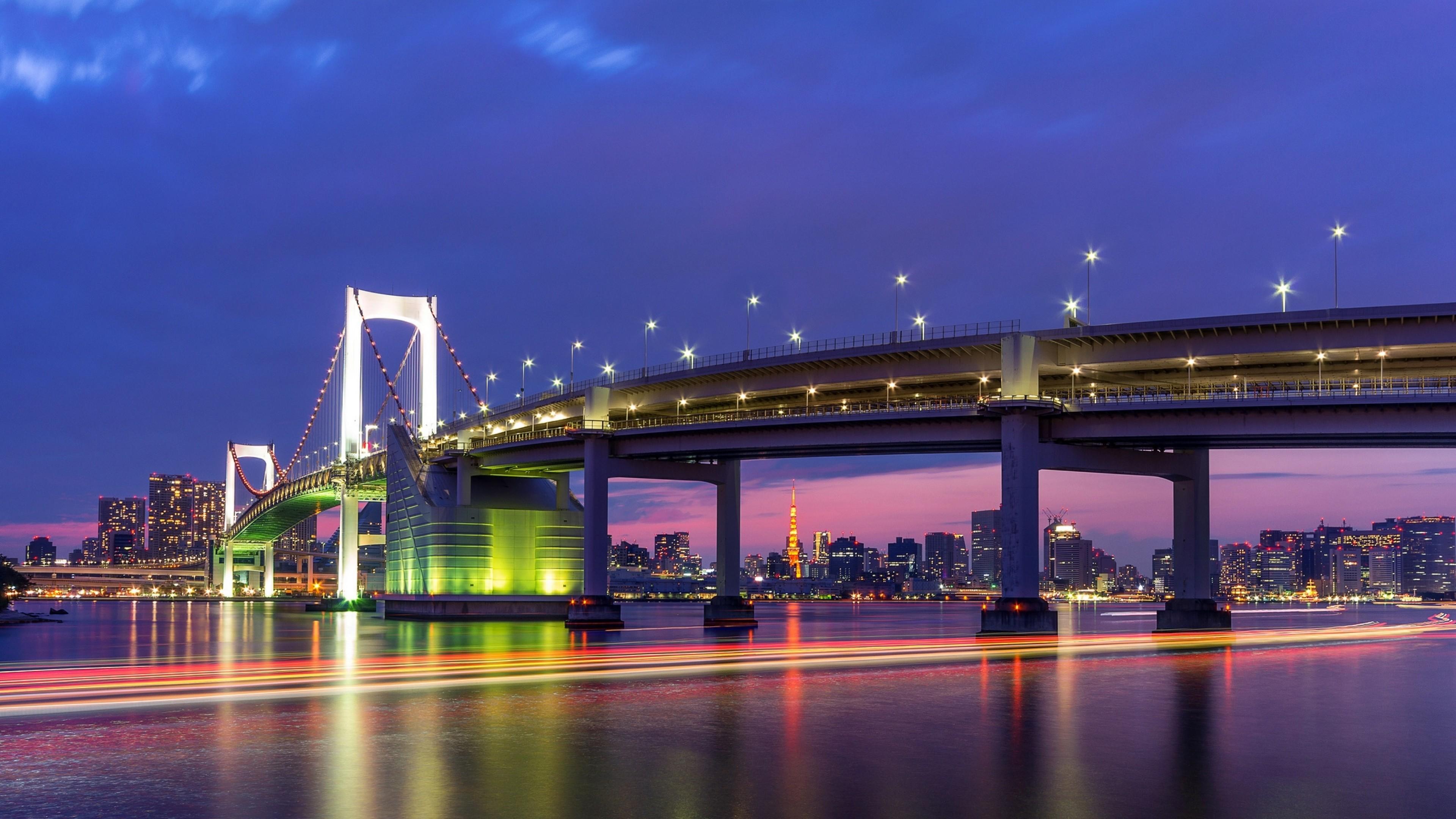 Preview wallpaper tokyo, capital city, metropolis, bridge, lights,  lighting, shutter