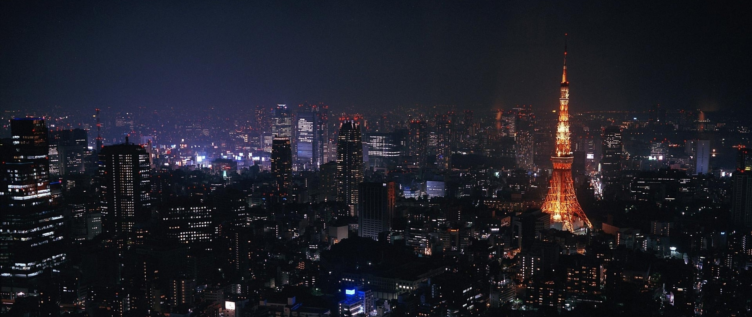 Preview wallpaper tokyo, japan, city, night, lights 2560×1080