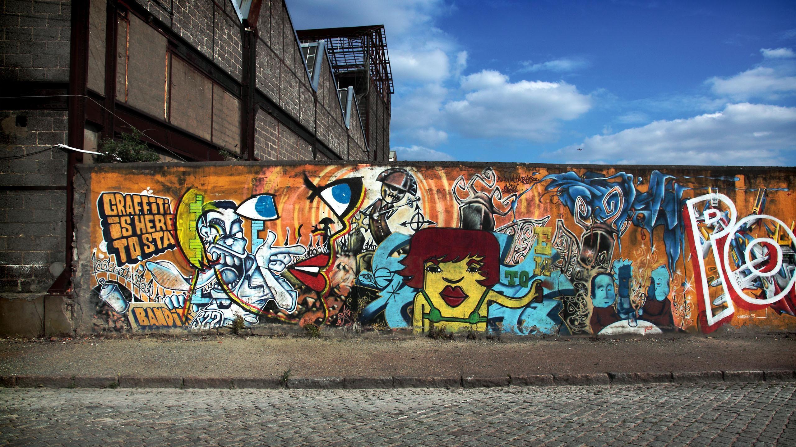 Wallpaper Graffiti Road Sky City