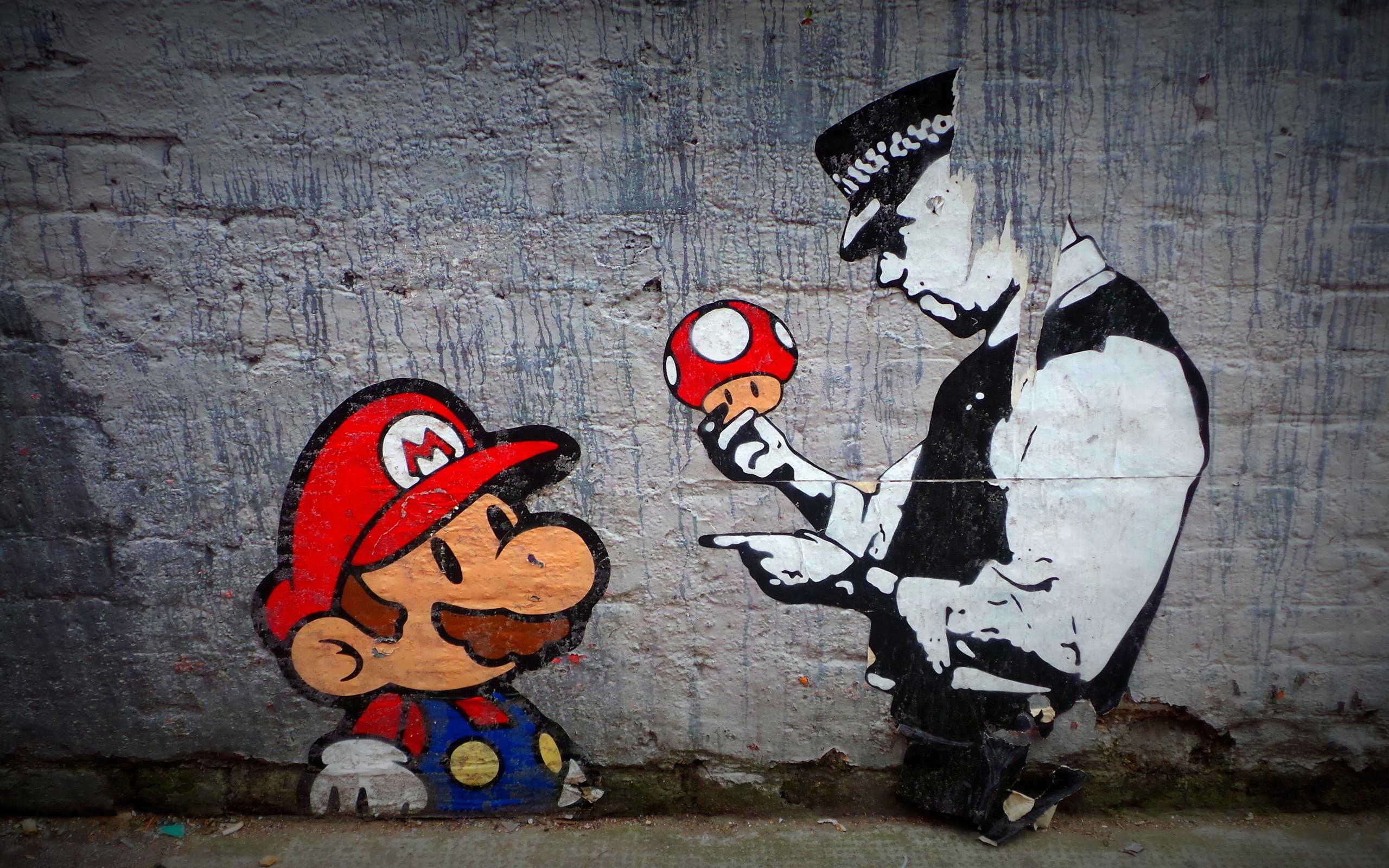 Wall Street, Street Art, Policeman, Mario, Wall Street Art