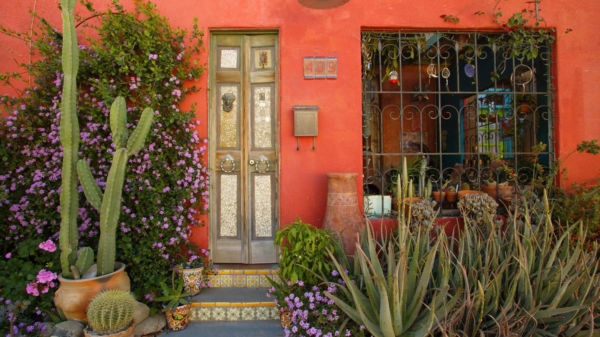 Houses – Historic Home Tuscon Arizona Restored Tucson House Cactus Window  Door Free Desktop Wallpaper for