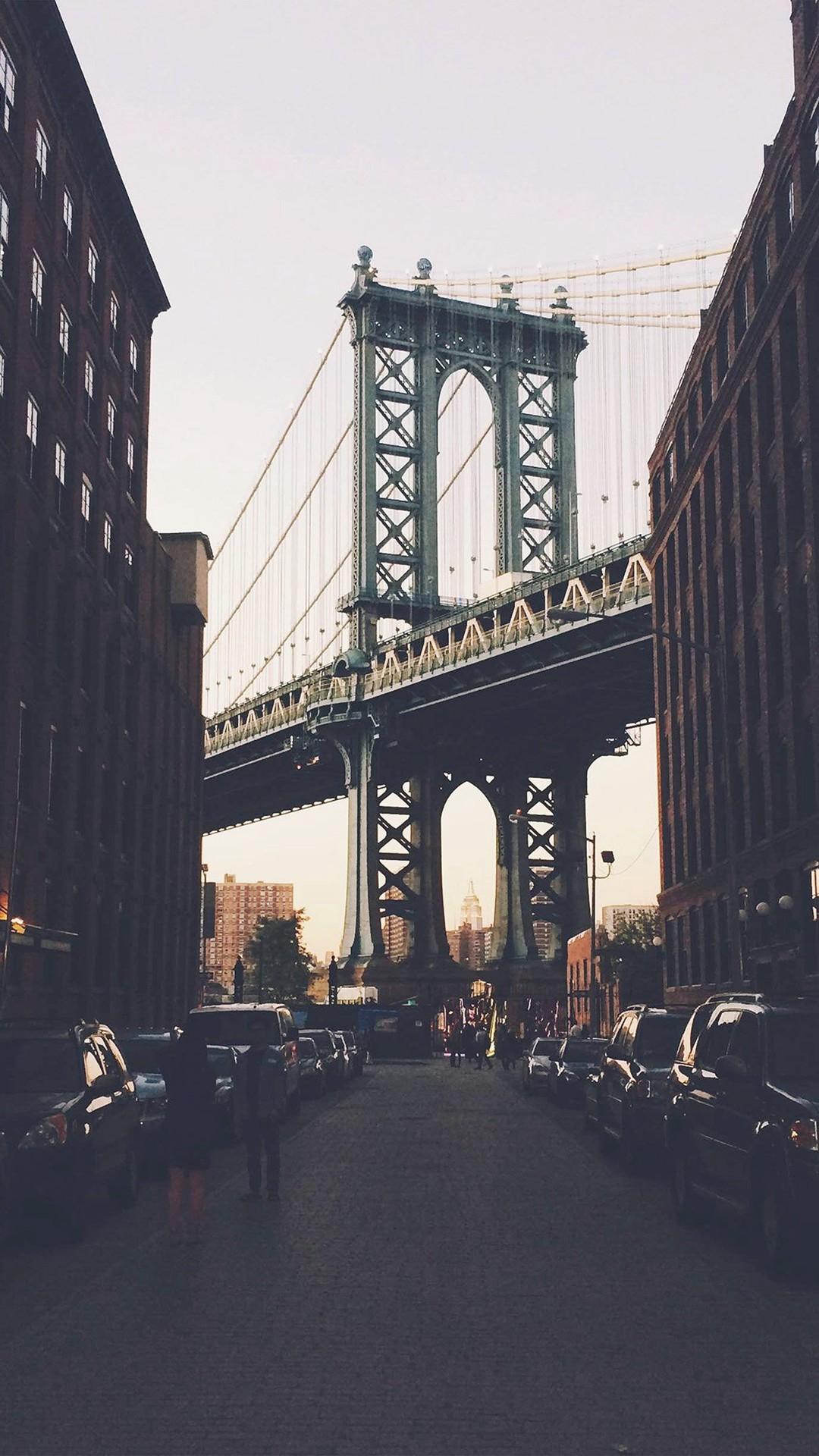 New York Bridge City Building Architecture Street #iPhone #6 #plus # wallpaper