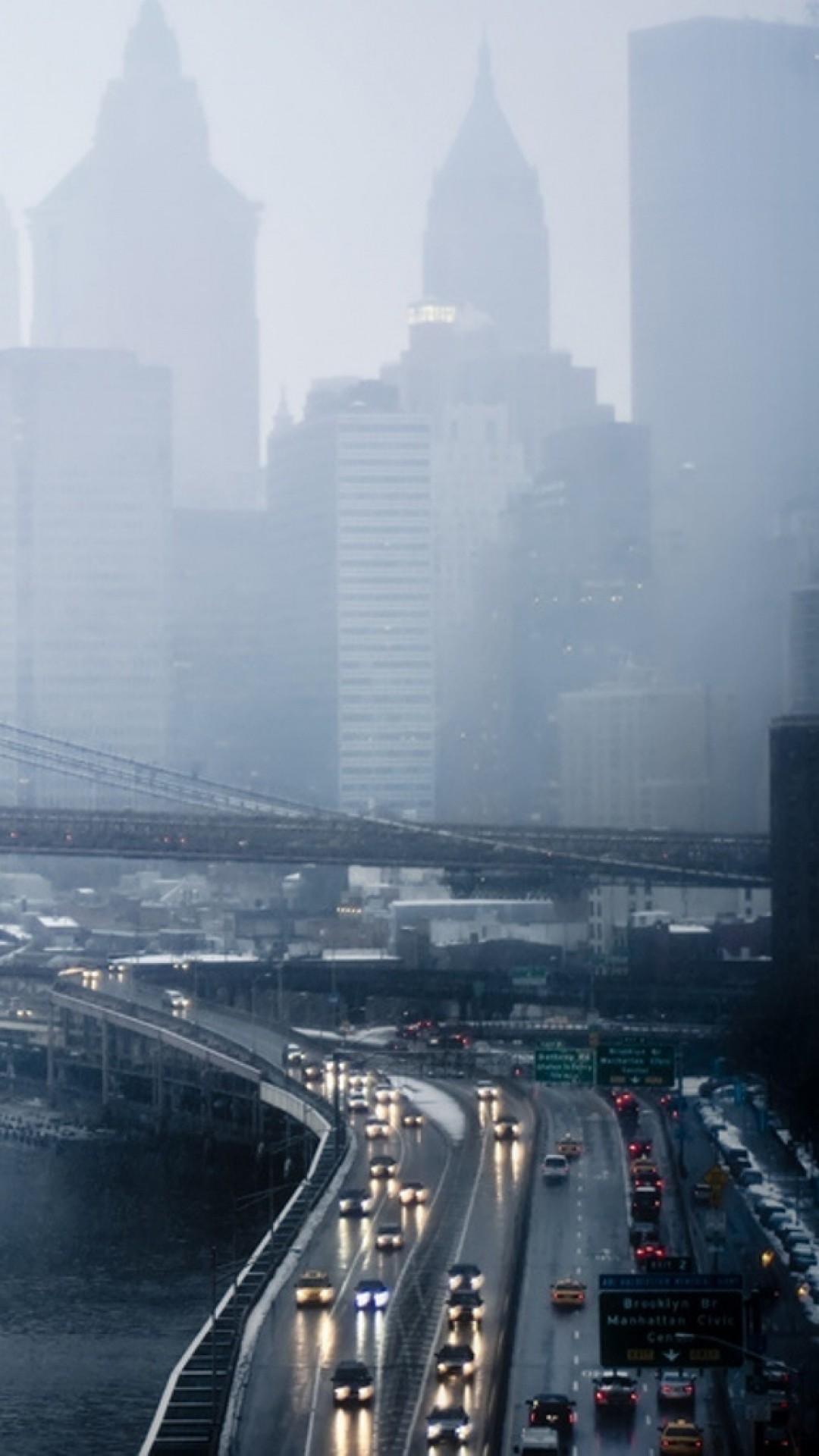 Rainy Day New York Traffic iPhone 6 Plus HD Wallpaper …