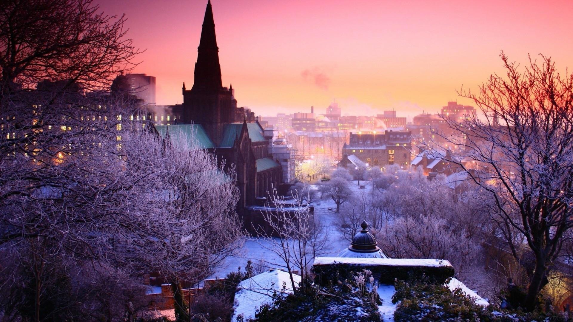 Wallpaper city, night, winter, sky, trees