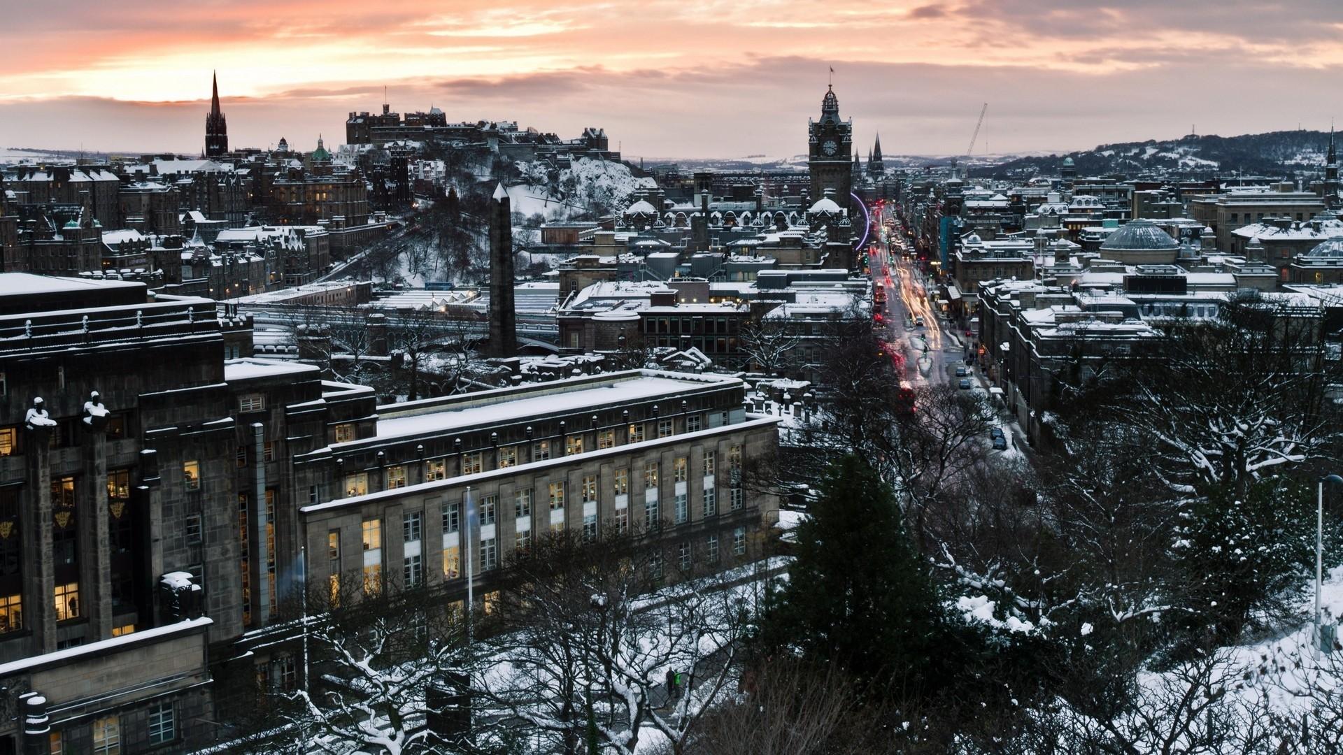 Wallpaper edinburgh, scotland, winter, snow, city