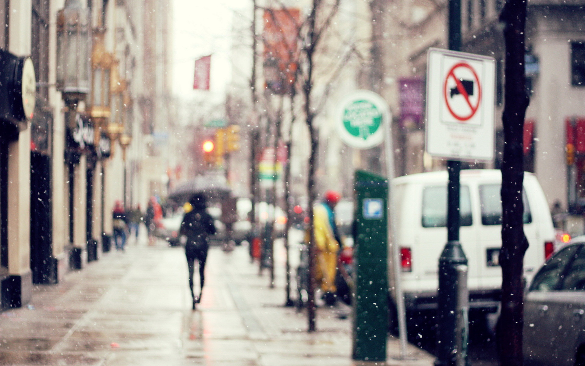 Winter City Photography Background Wallpaper