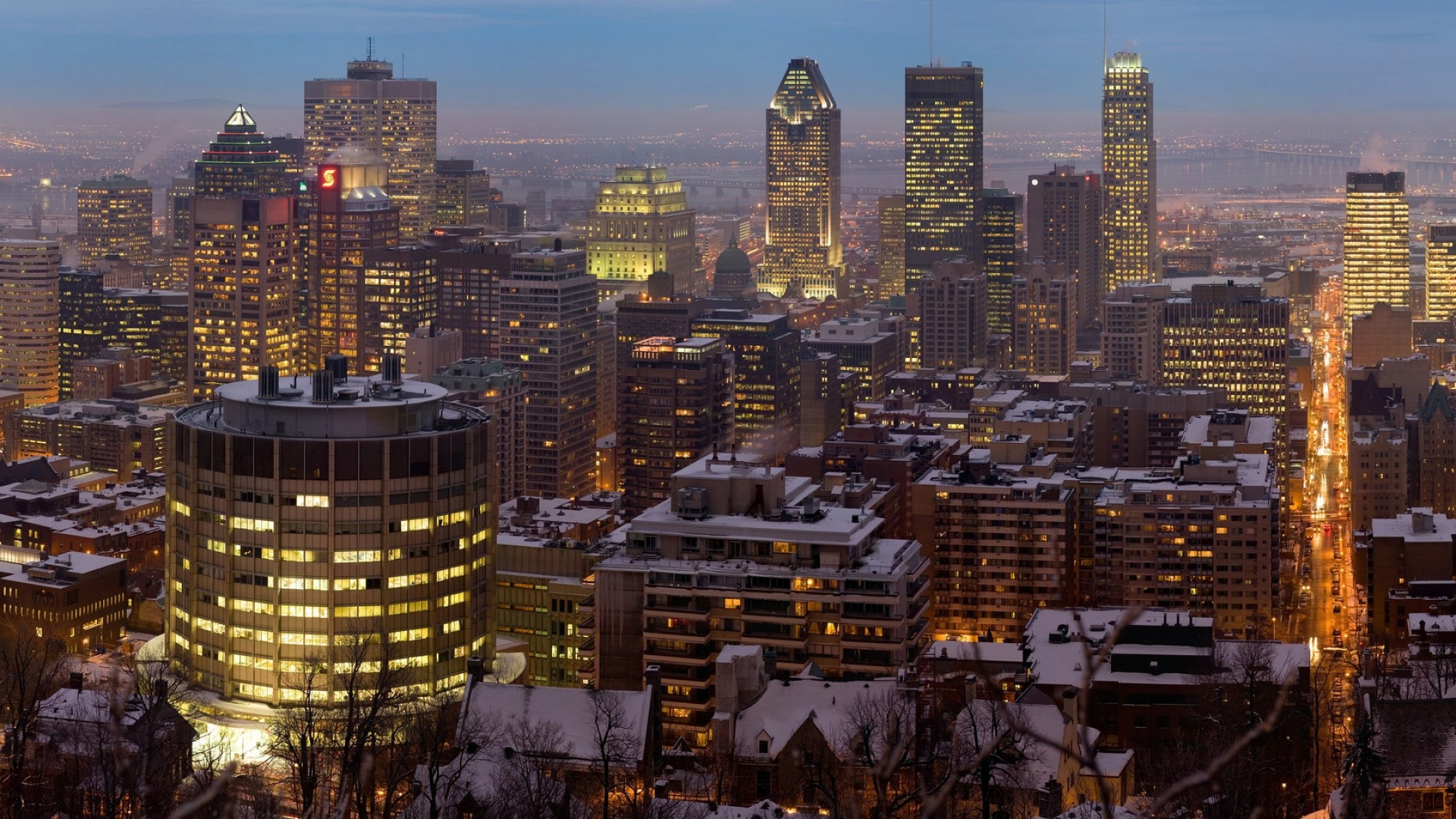 Preview wallpaper canada, montreal, city, night, winter 1920×1080