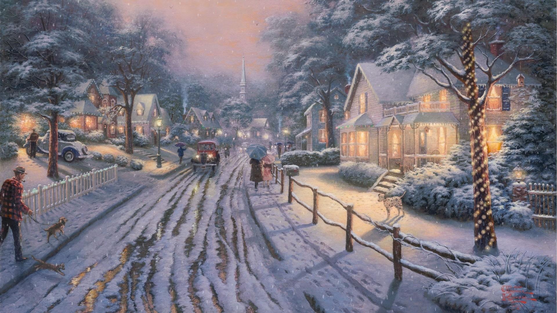 street city snow weather