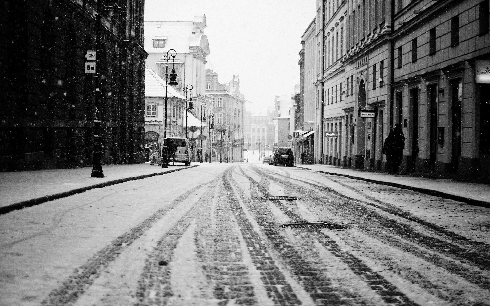 Black And White Winter Day In The City