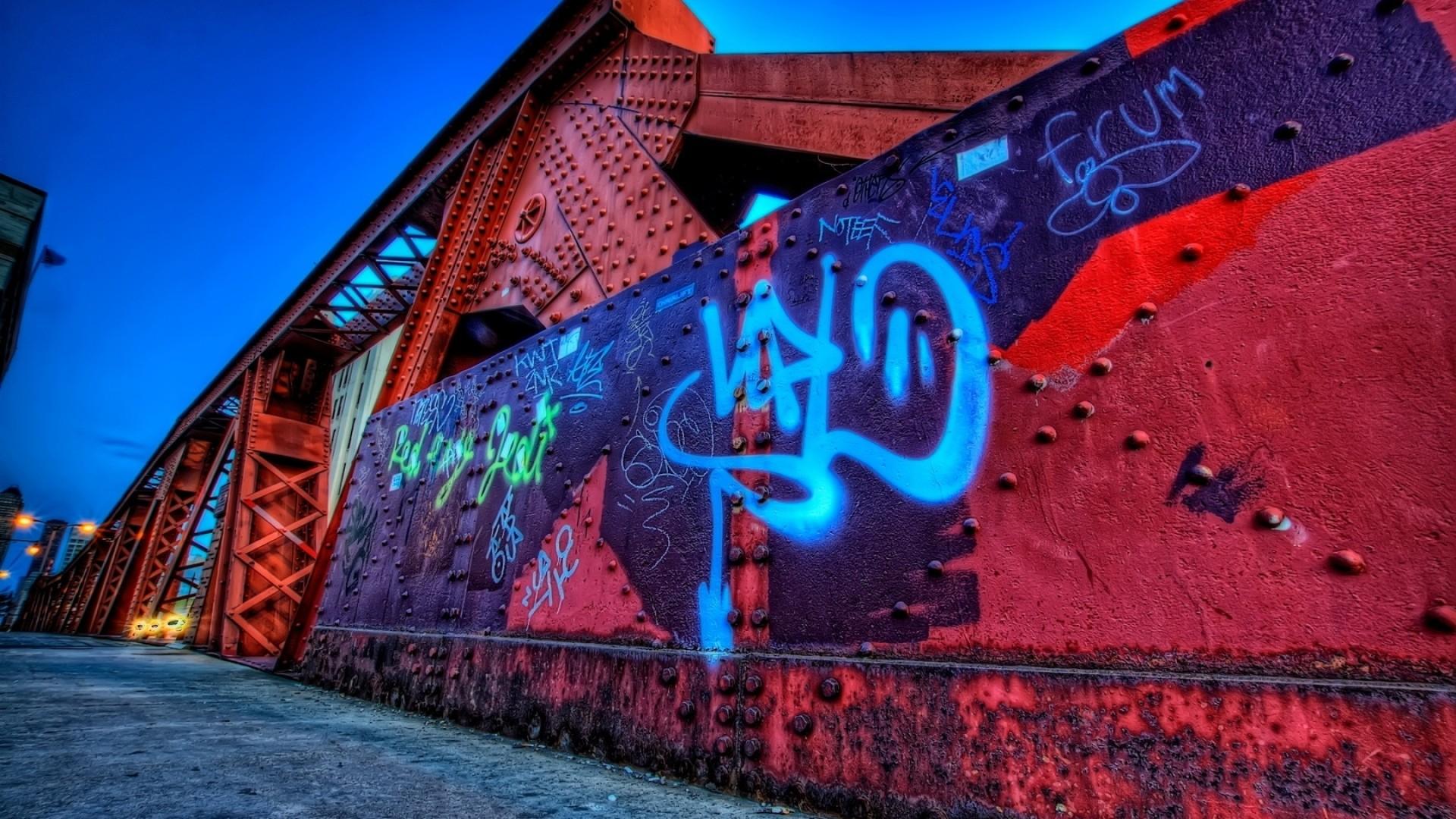 Preview wallpaper city , graffiti, street, wall 1920×1080