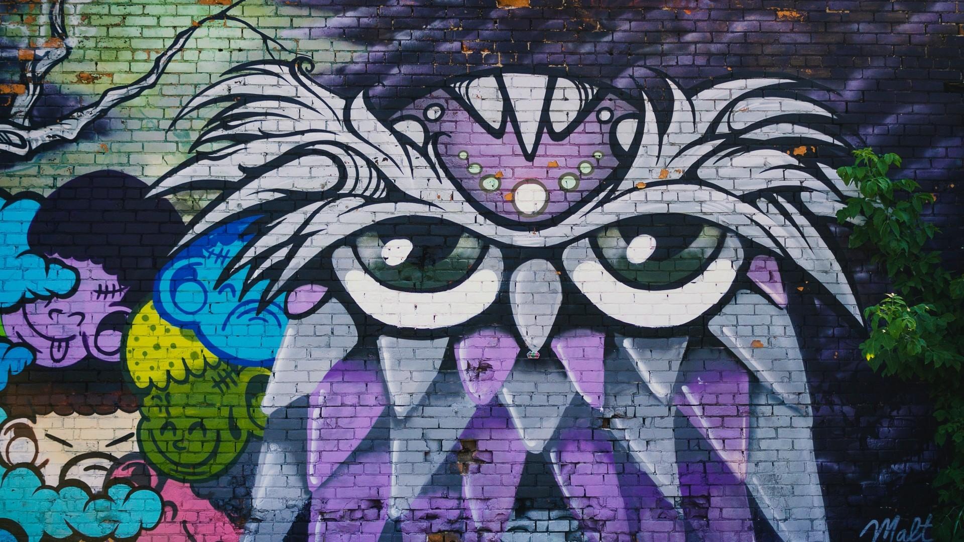 Wallpaper owl, graffiti, art, wall, street art