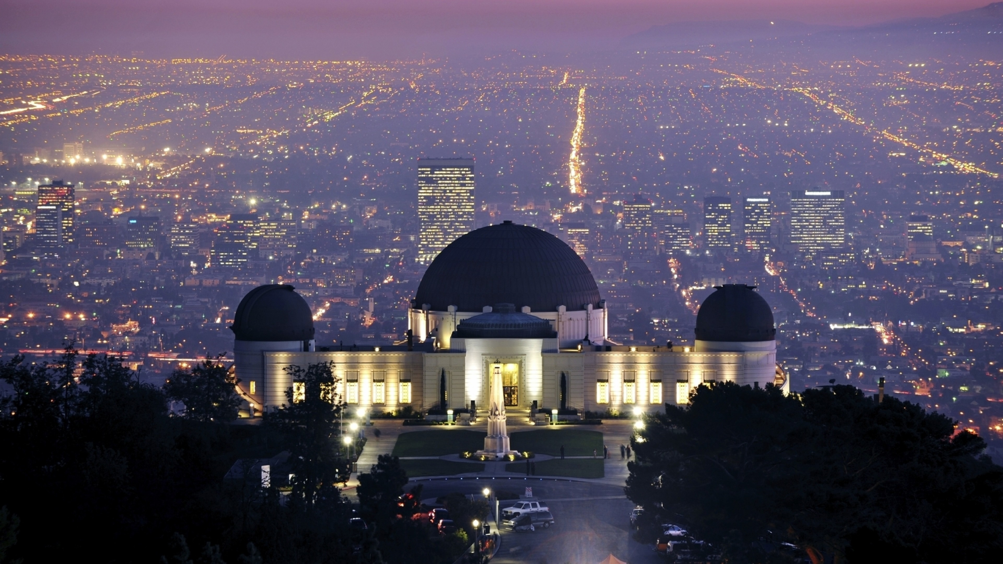 Preview wallpaper griffith observatory, los angeles, california, evening,  city lights 3840×2160