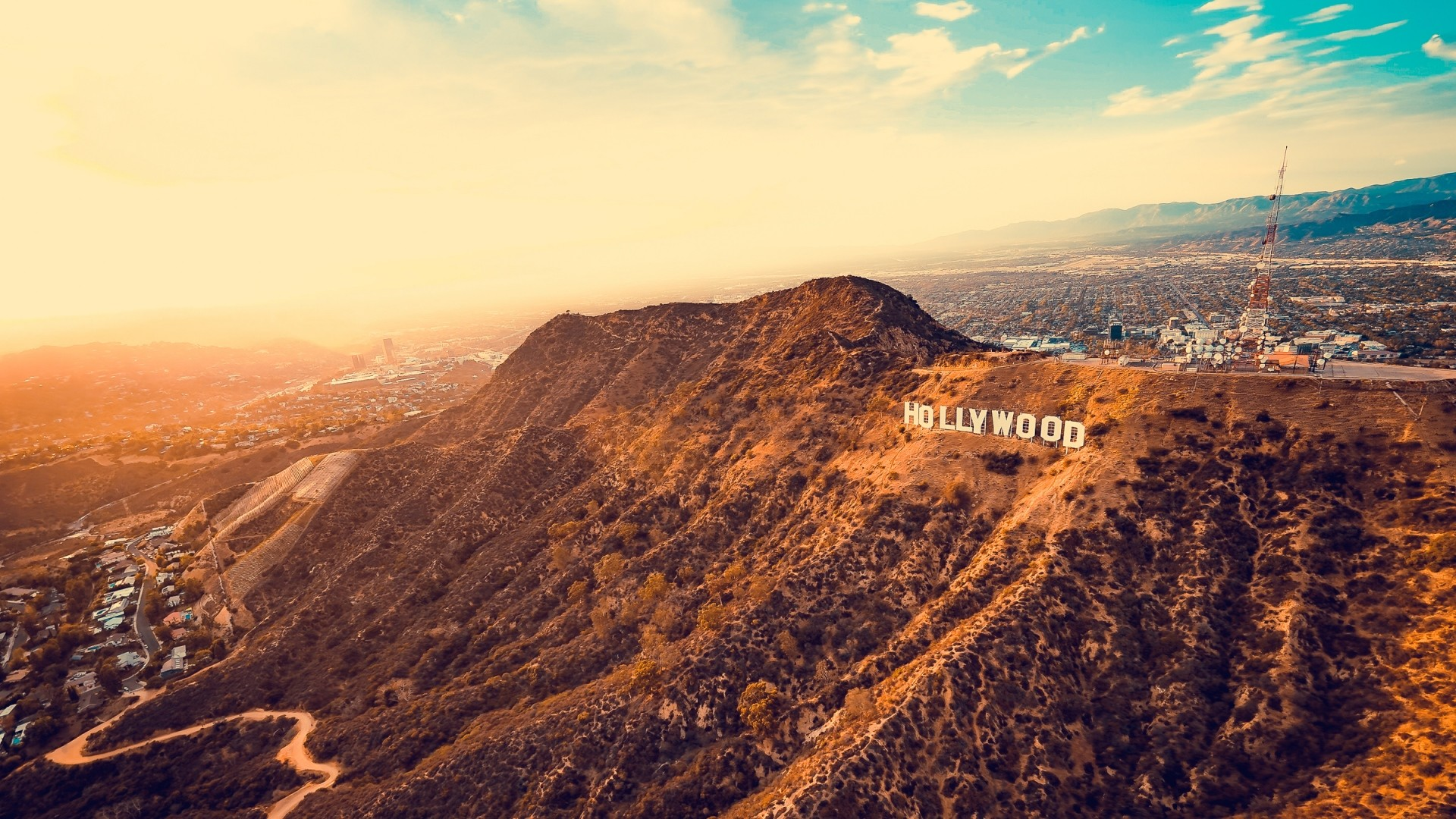 Wallpaper hollywood, mountains, los angeles