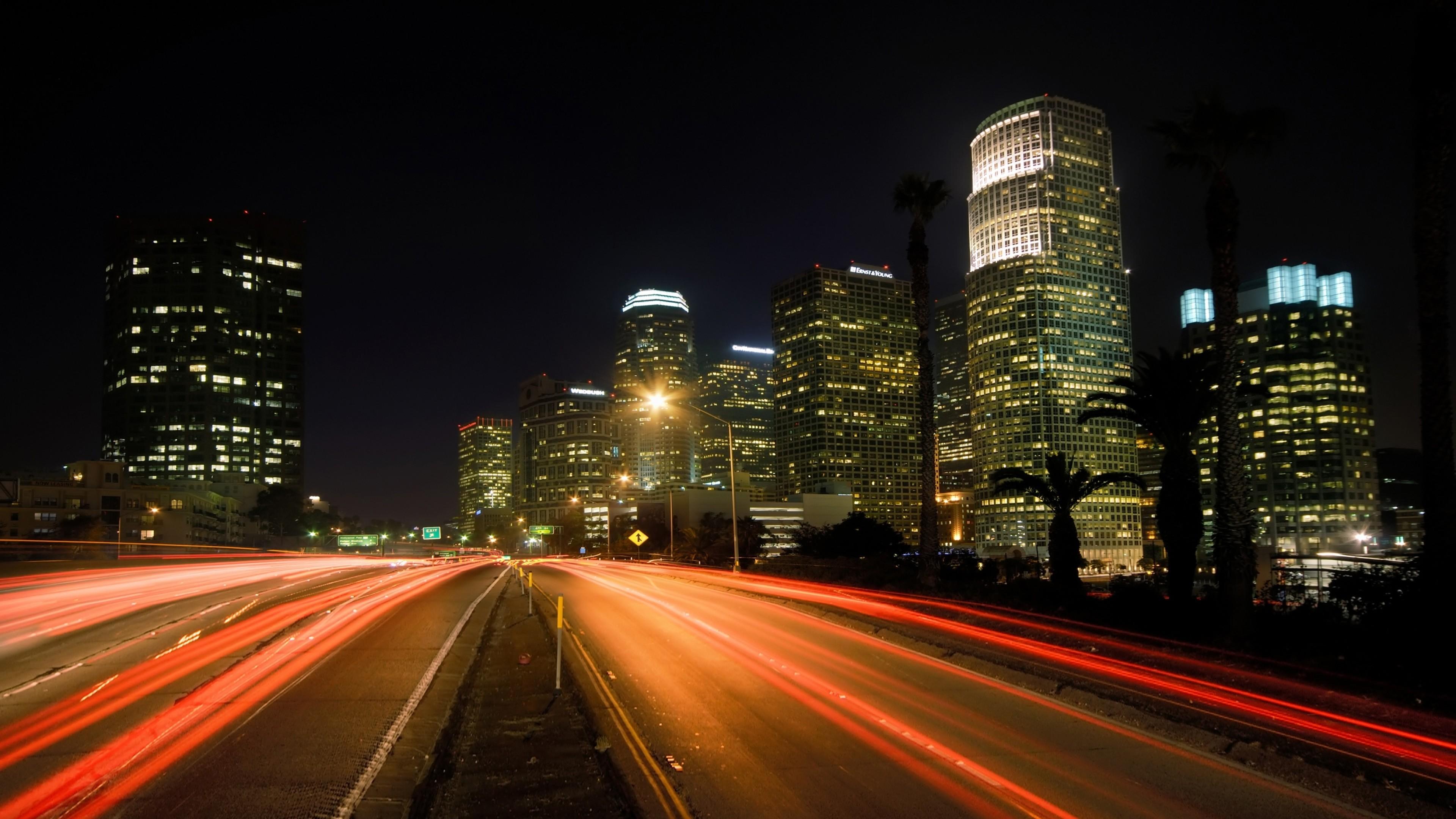 Wallpaper city, night, lights, road, los angeles