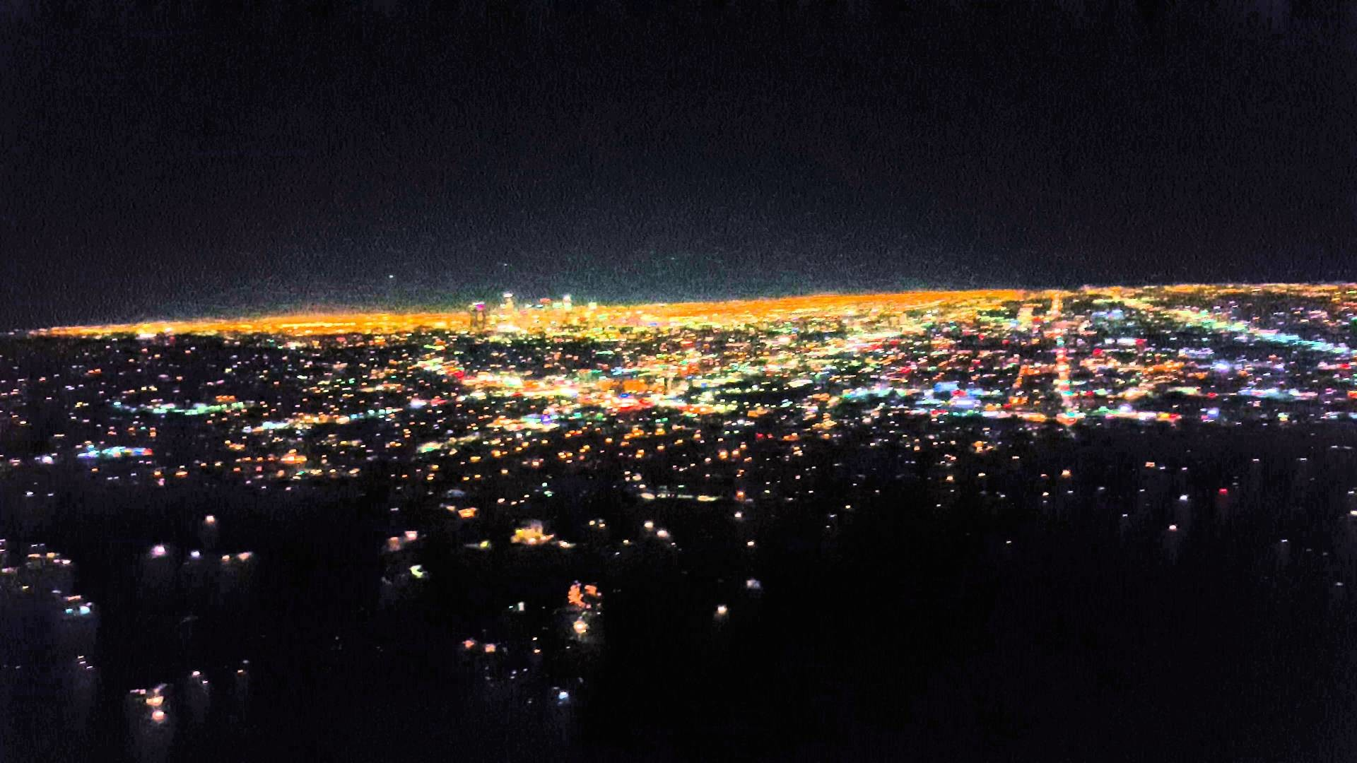 Beautiful View of Los Angeles at Night From Griffith Observatory in 4k