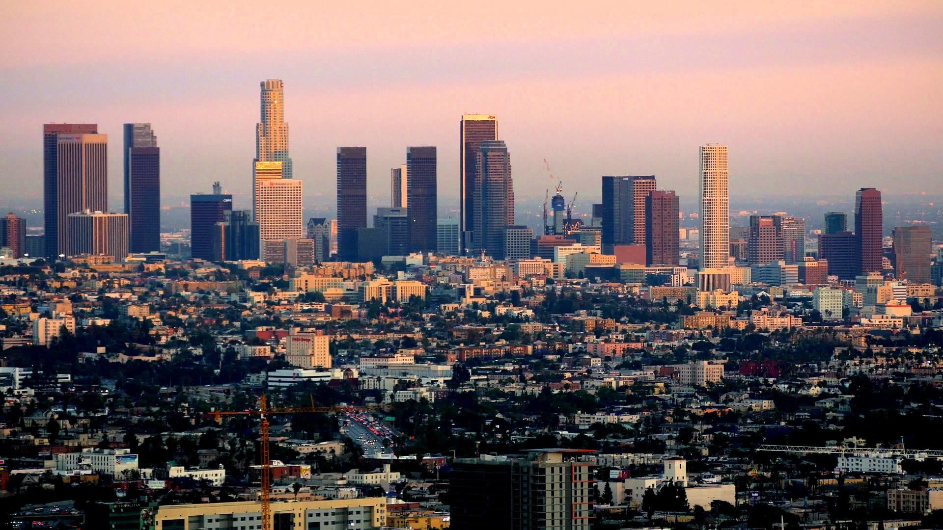 Los Angeles, California, USA, viewed from Mulholland Drive at dusk, 4K