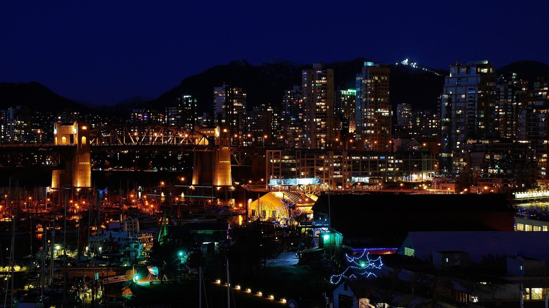 Wallpaper canada, city lights, top view