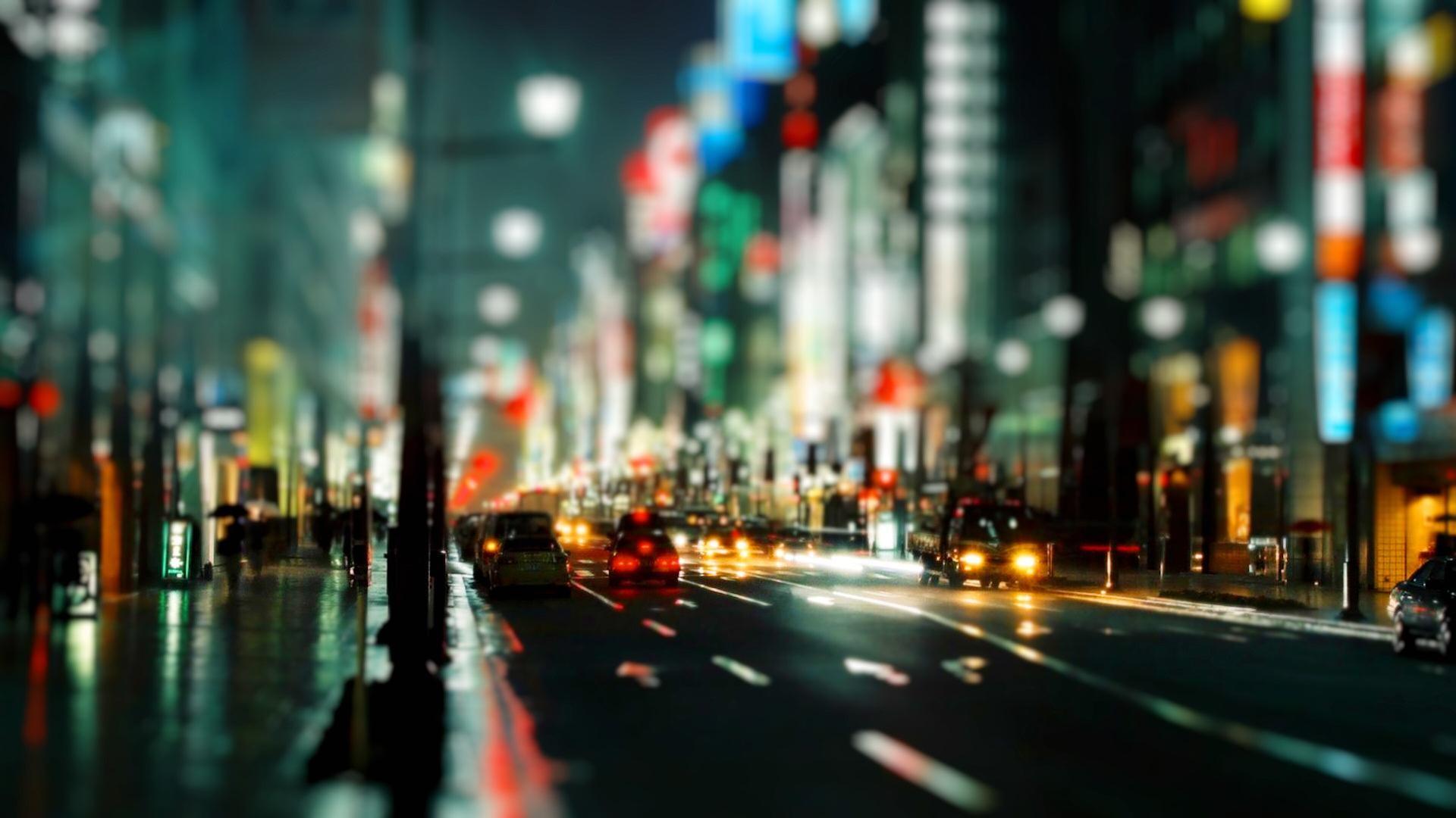 cityscapes,streets cityscapes streets rain cars urban buildings bokeh city  lights tiltshift depth of field nighttime u – Fields Wallpaper – Desktop …