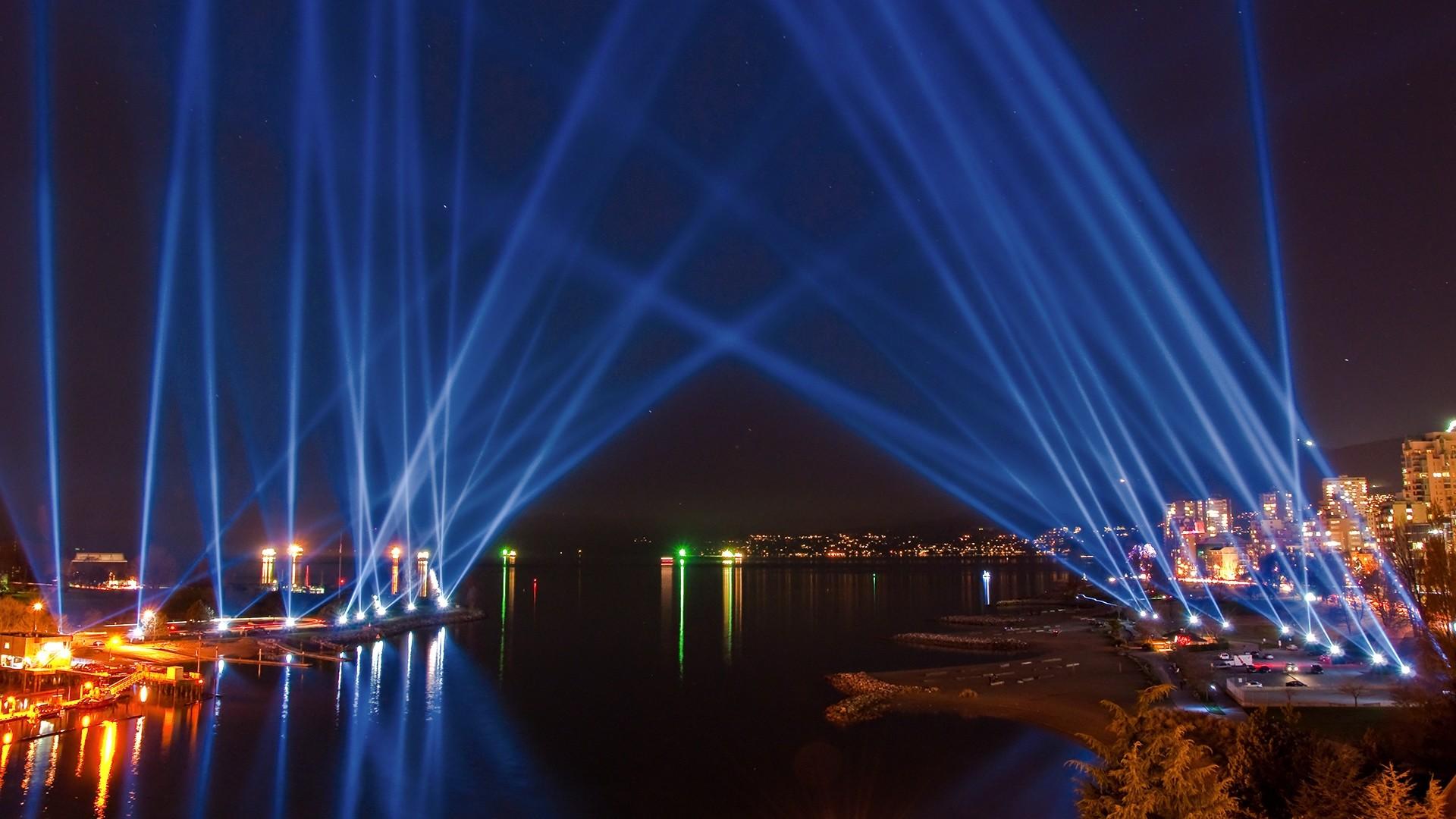 Preview wallpaper city lights, sky, light, river, beach, night 1920×1080