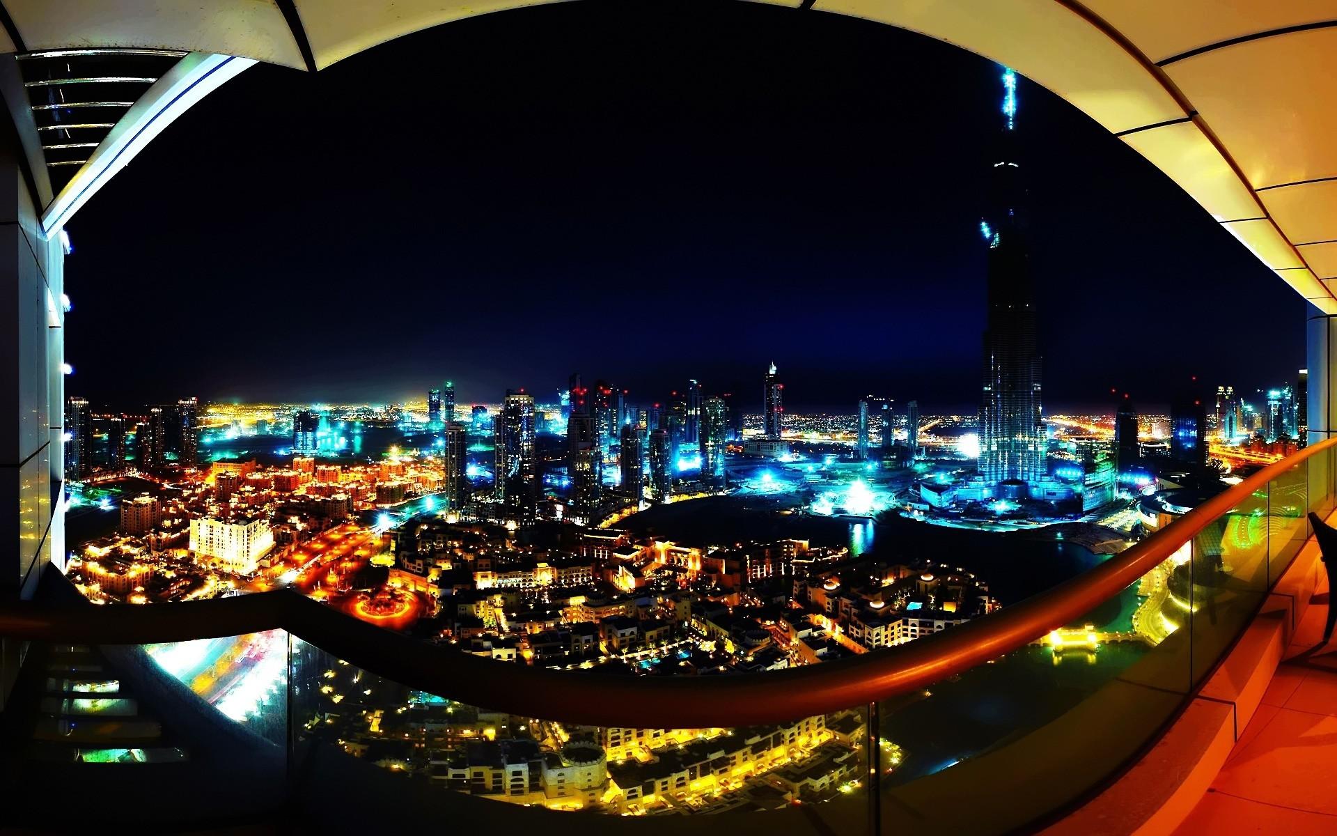 Wallpaper city, view, night, city lights, buildings