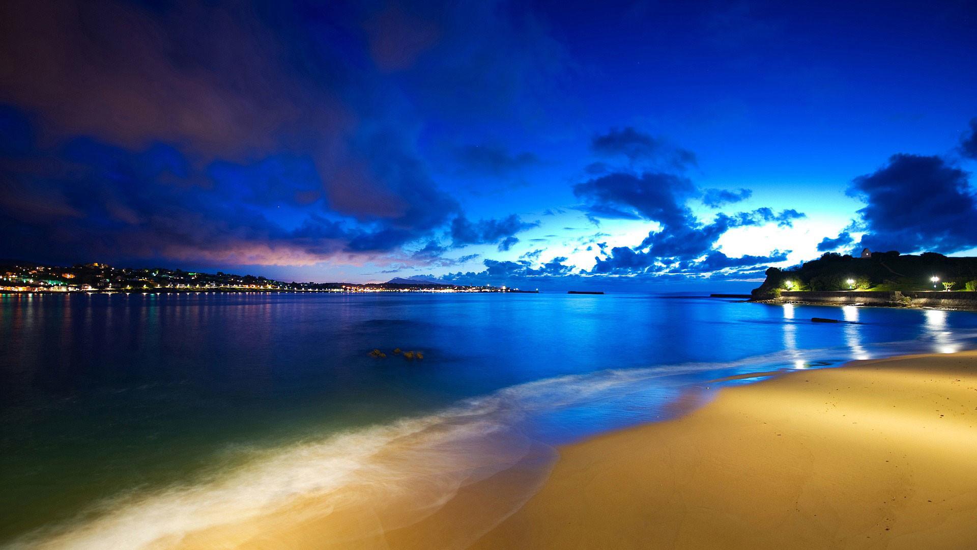 hd pics photos attractive beach blue night sea city lights stunning hd  quality desktop background wallpaper