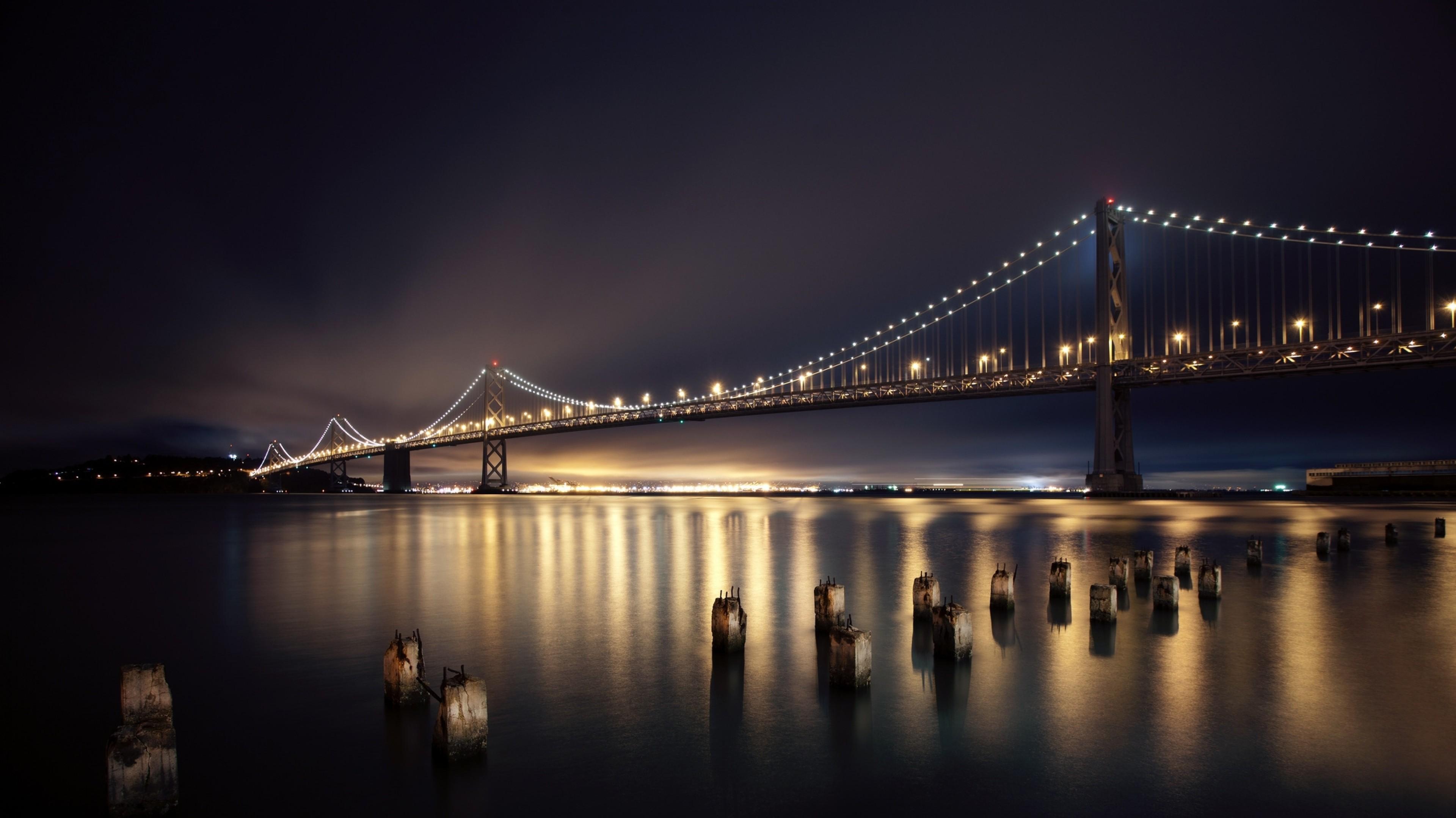 Wallpaper san francisco, night, bridge, city, lights, river