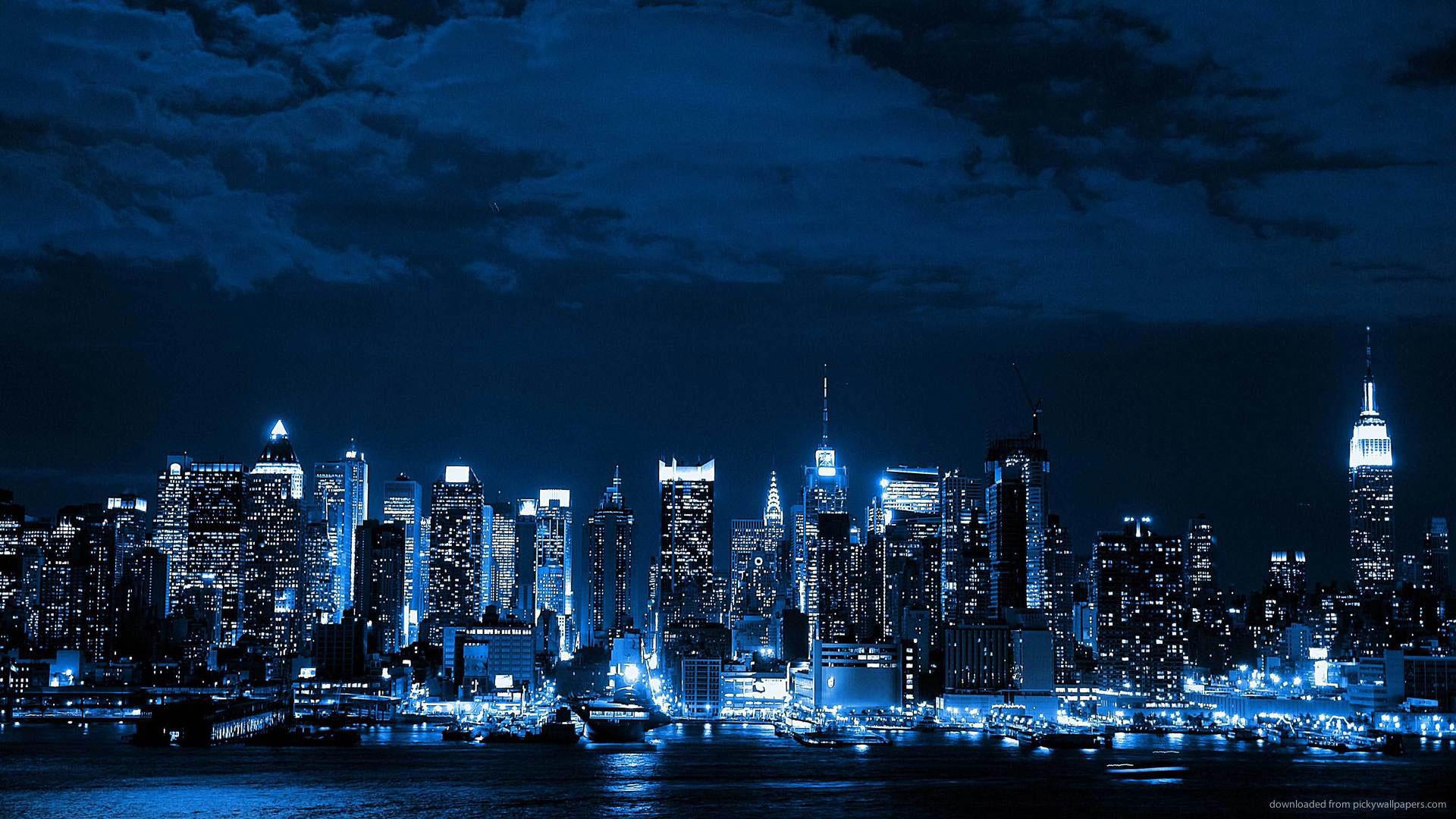 hd pics photos blue neon city desktop background wallpaper