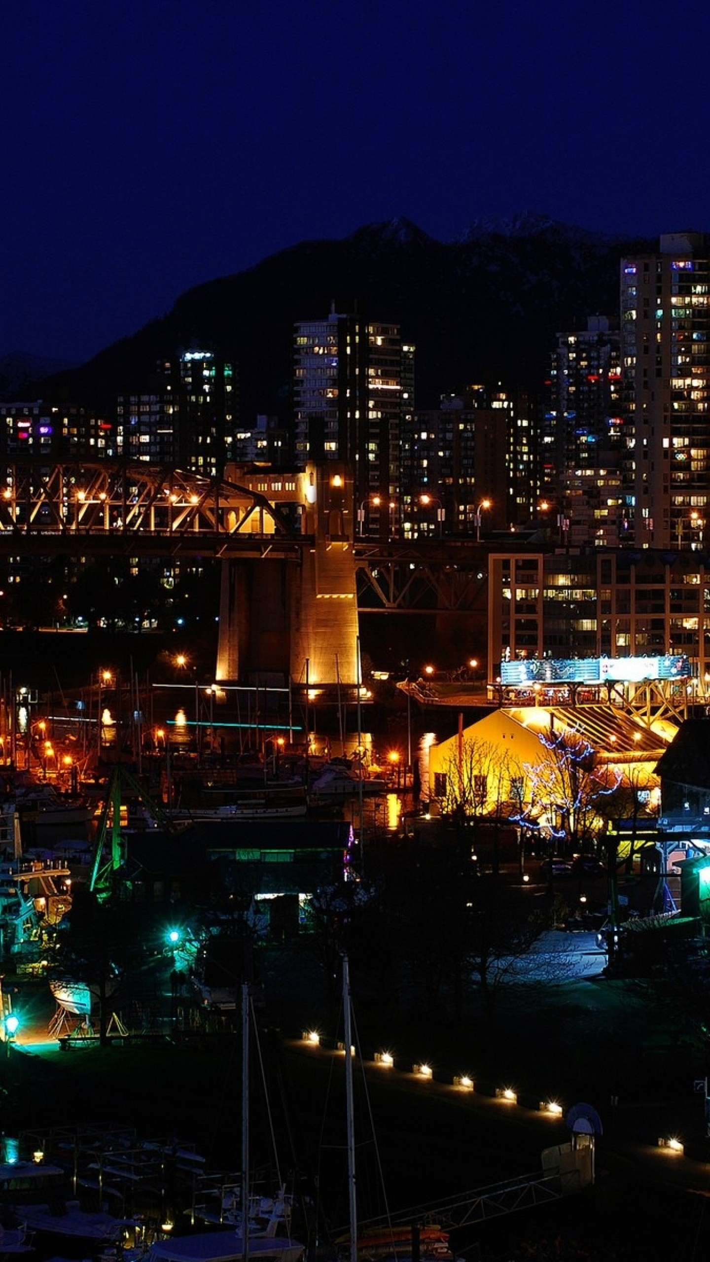 Preview wallpaper canada, city lights, top view 1440×2560