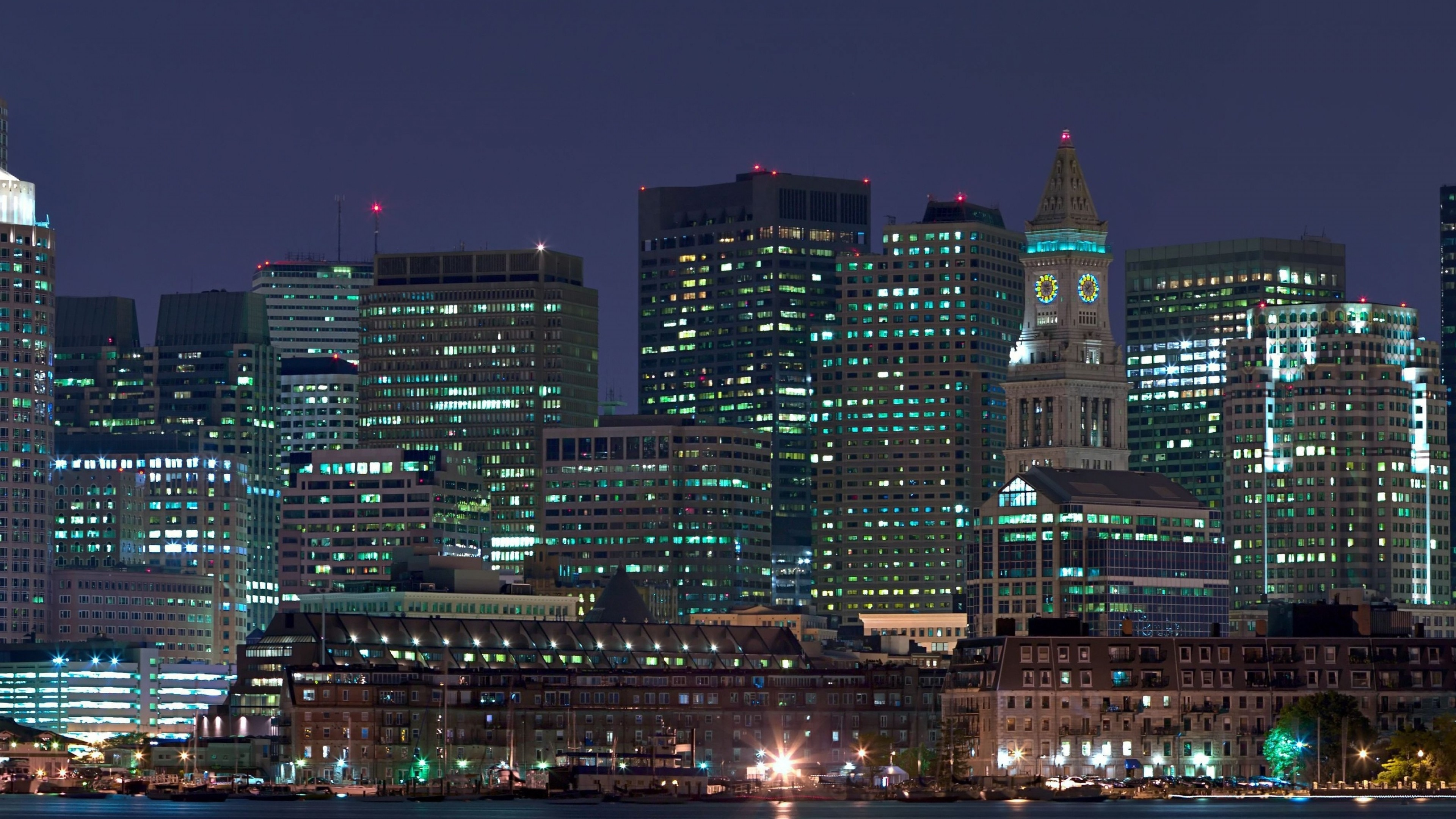 Wallpaper night, city, lights, panorama
