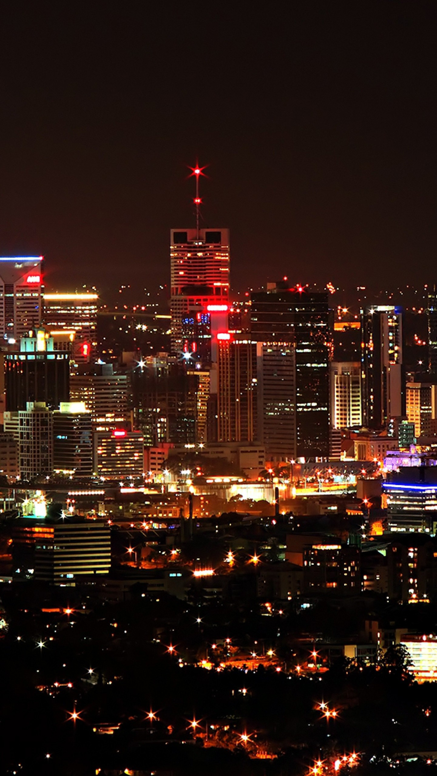 Wallpaper city, night, skyscrapers, top view, sky, city lights