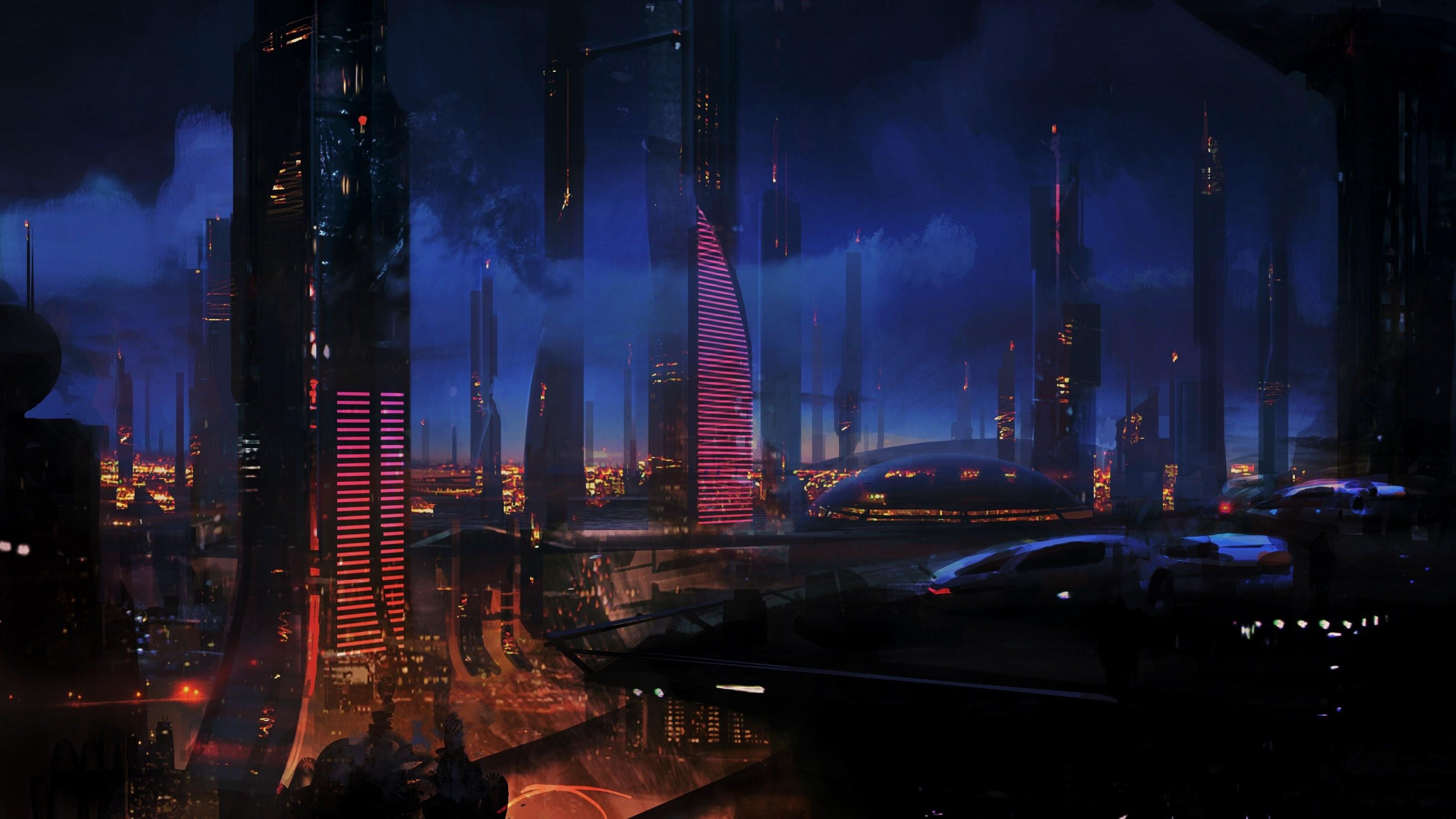 City Lights Futuristic Mass Effect Night Sci-fi