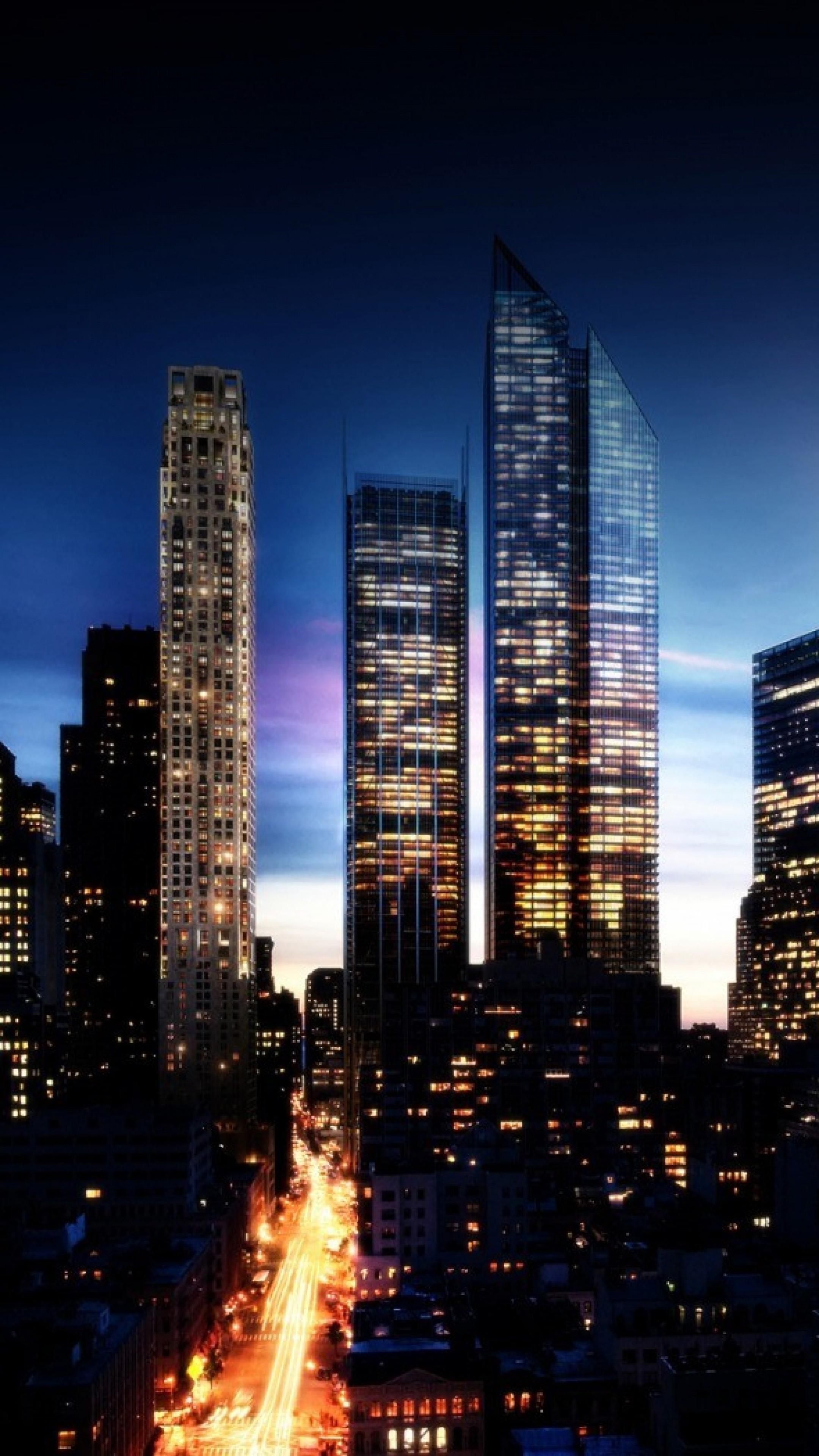 Wallpaper city, night, lights, city lights, buildings, sky