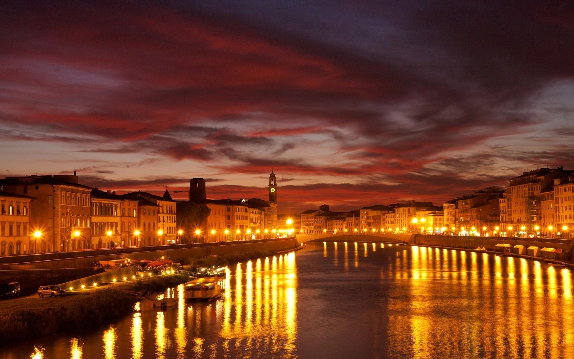 Wallpaper venice, canal, city, bridge, city lights