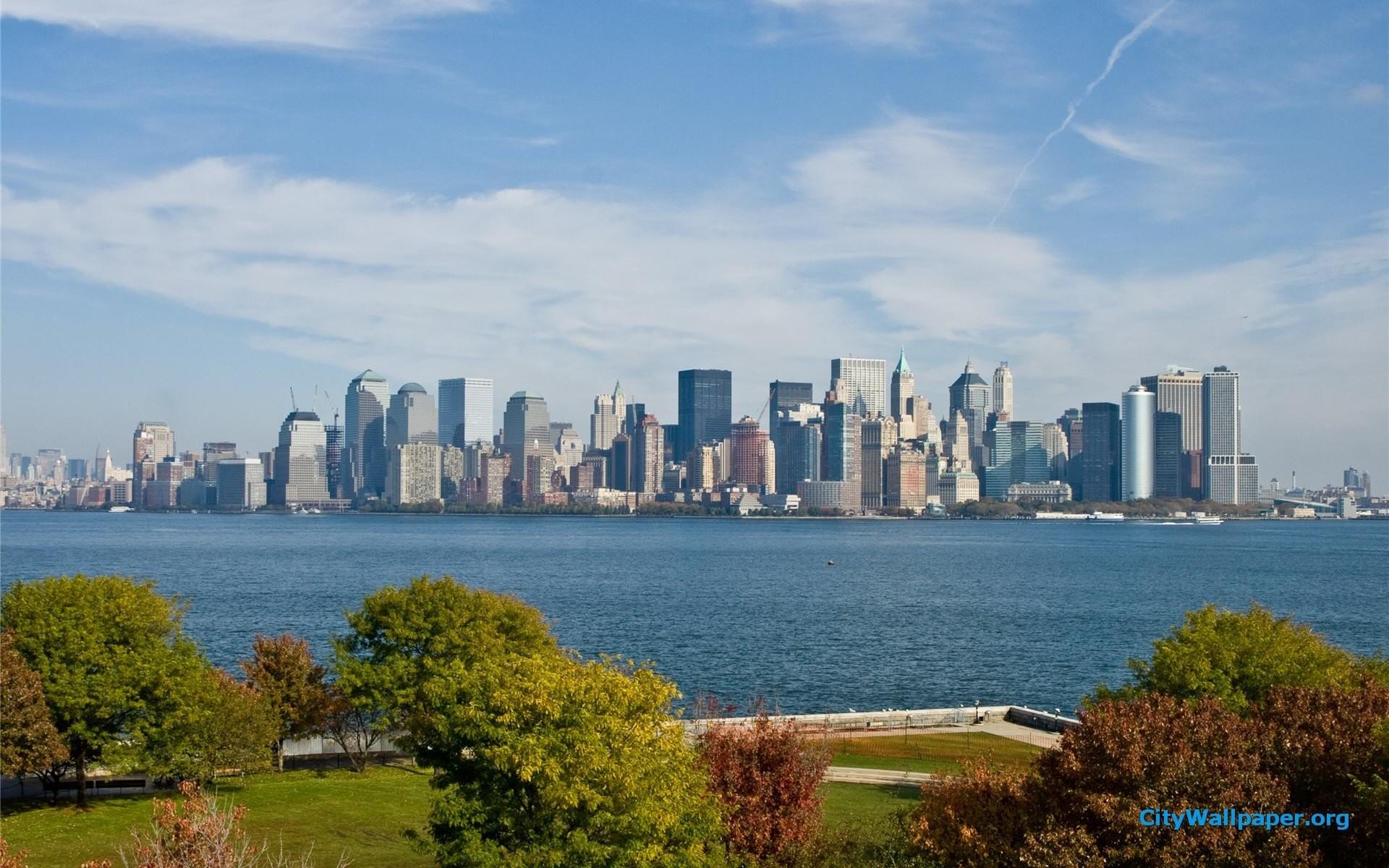 New York City Skyline From Ellis Island Wallpaper » WallDevil .