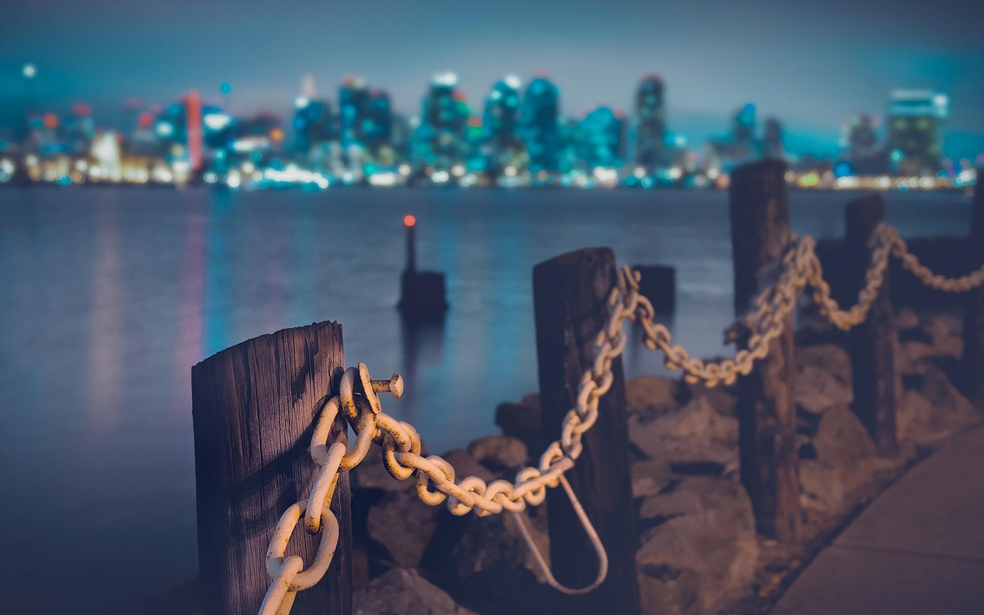 Shore chains city skyline