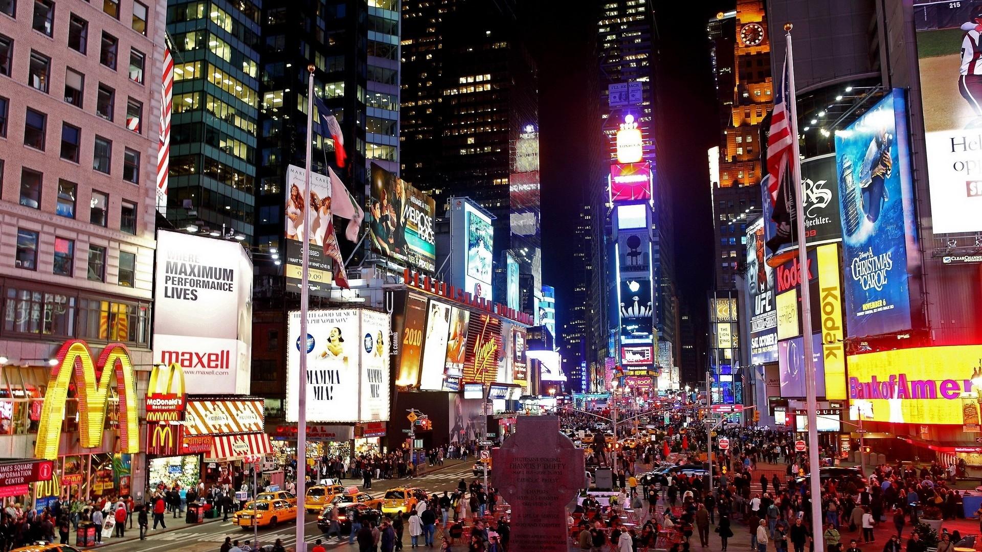 Preview wallpaper new york, manhattan, street, night 1920×1080