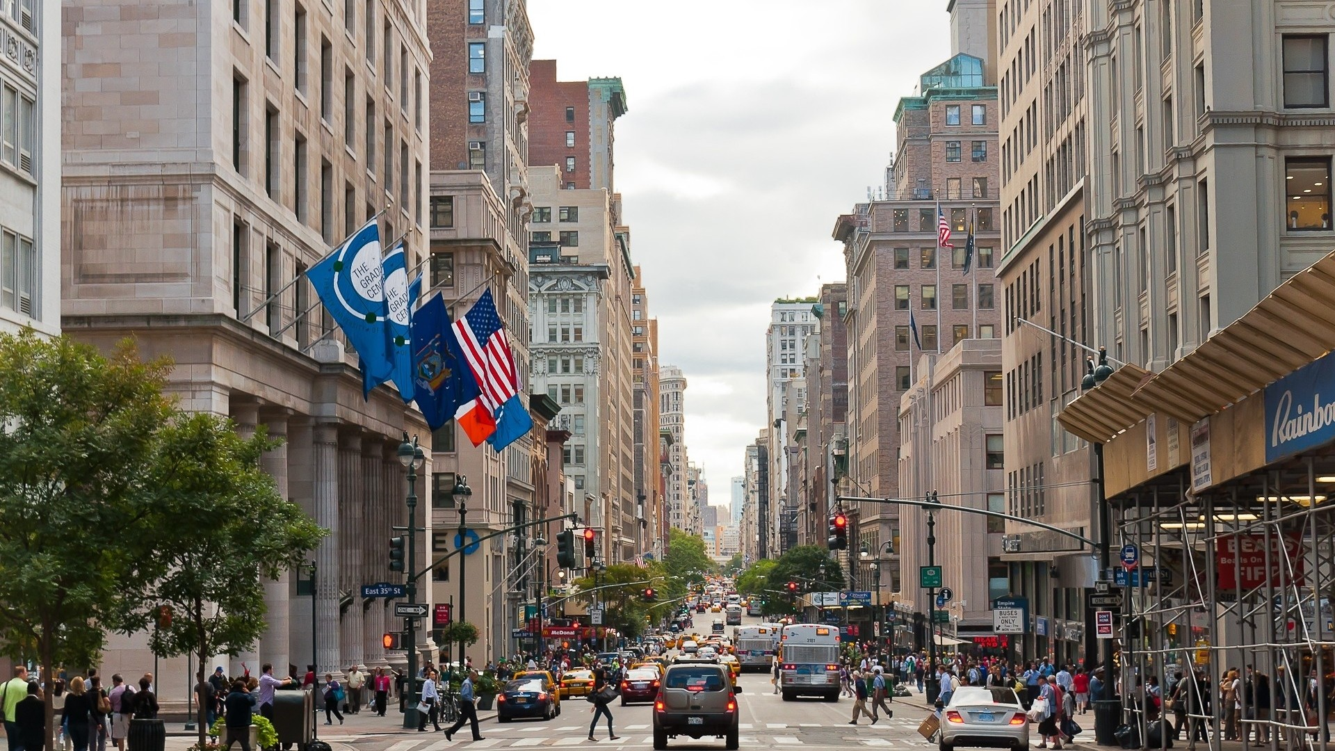 Wallpaper new york, city, street, traffic, people, cars, buildings