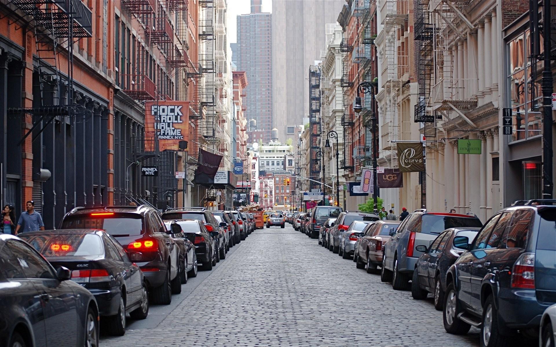 mercer street soho new york city street buildings machinery