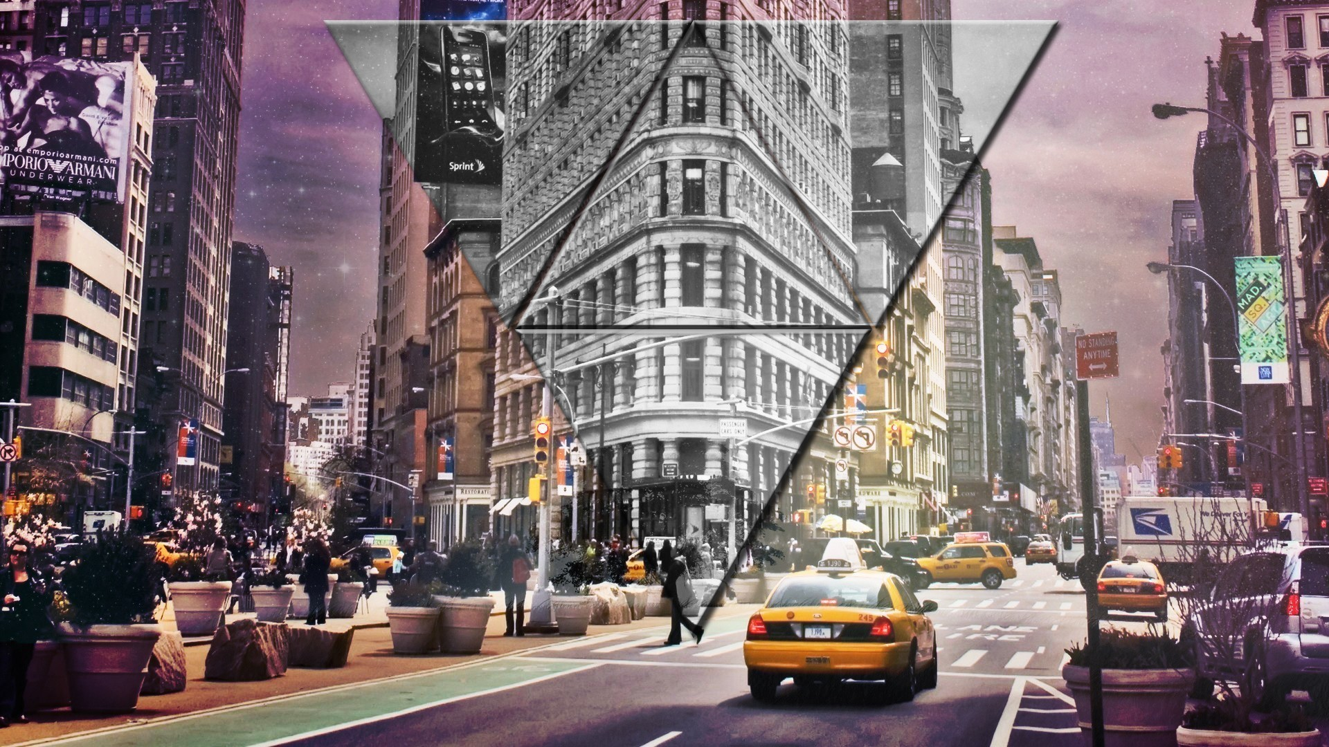 New York City, New York Taxi, Street, City, Triangle, Digital art, Purple,  Stars Wallpapers HD / Desktop and Mobile Backgrounds
