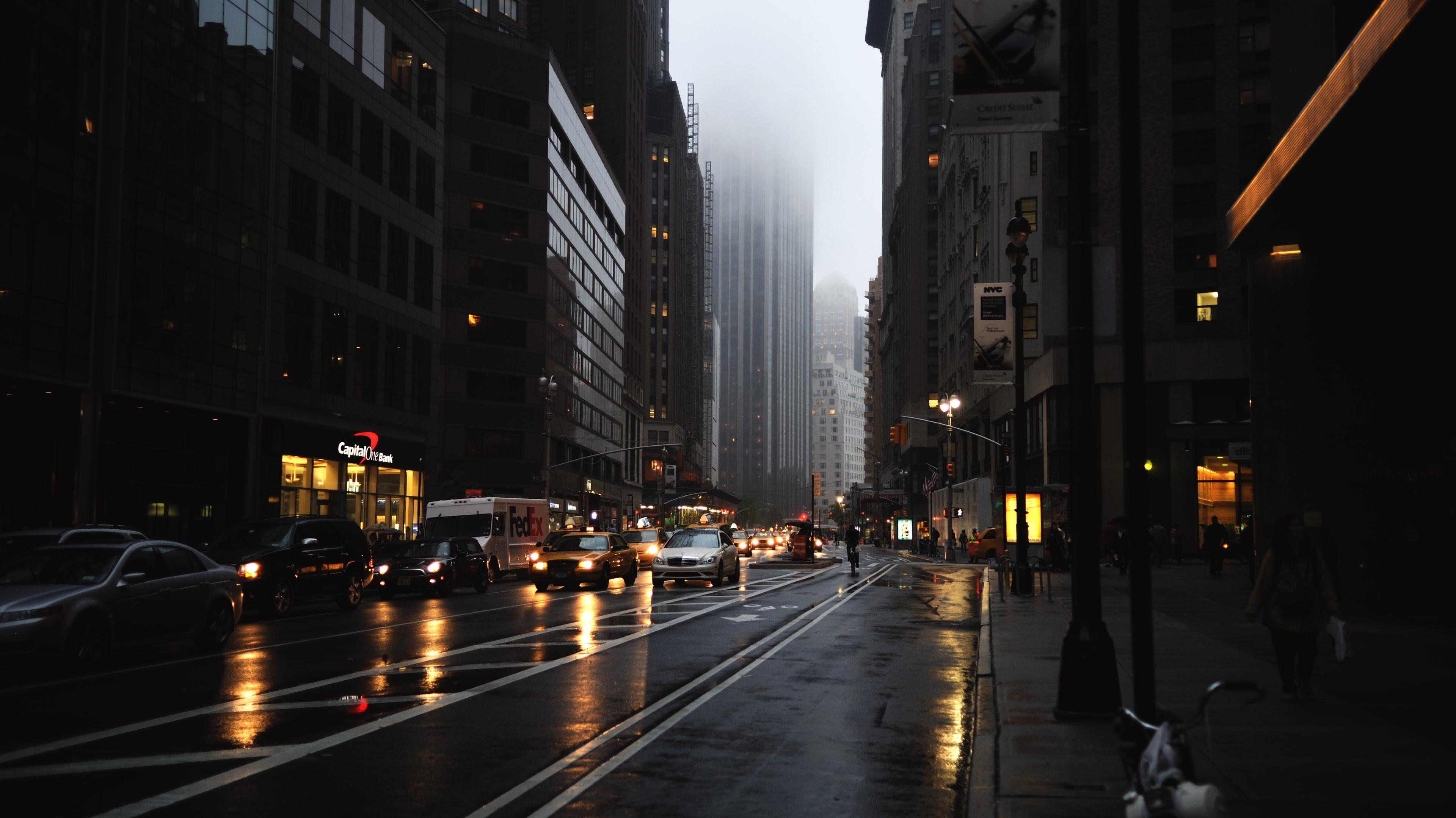Rainy Day in New York City [3840×2160]