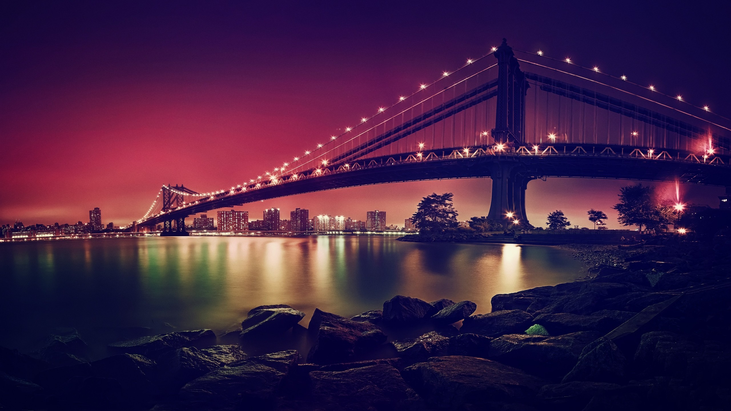 Tags: Manhattan Bridge, Suspension bridge, New York City, 4K