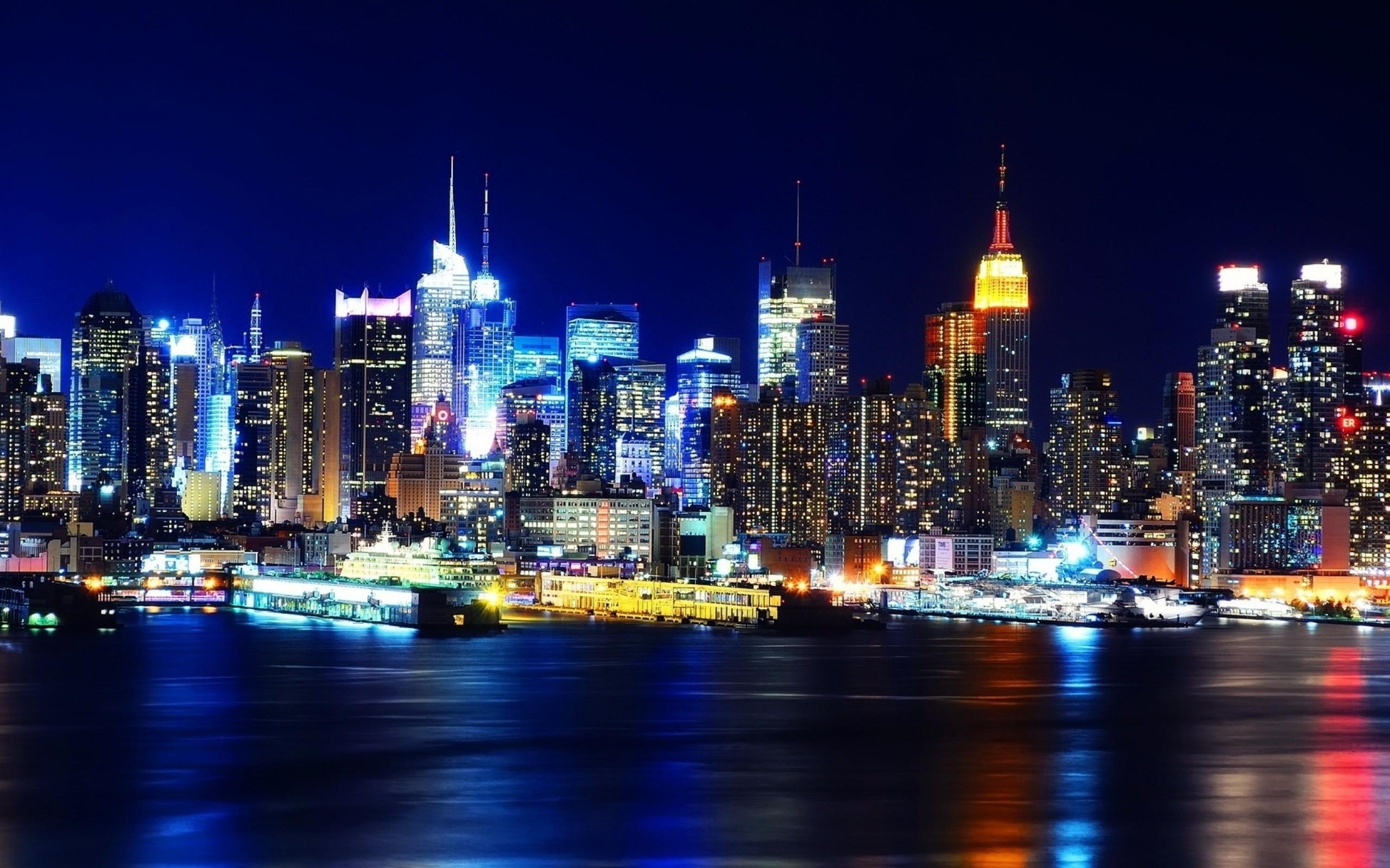 Wallpaper new york, night, lights, river, reflection